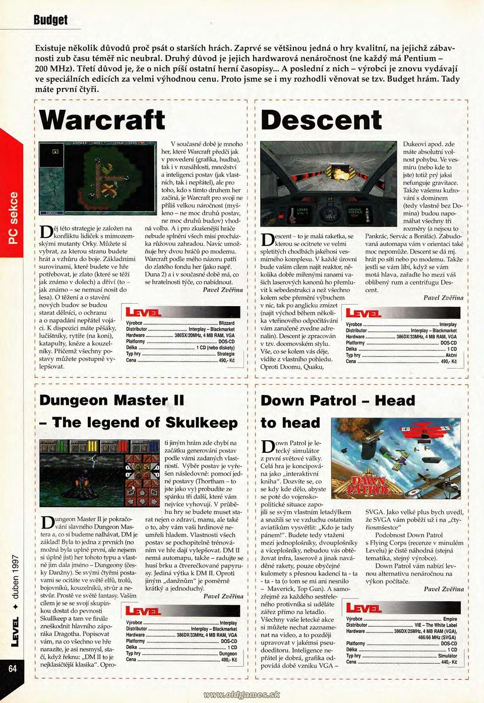 Dungeon Master II for PC Review published in Czech magazine 'Level', Issue #27 April 1997, Page 64