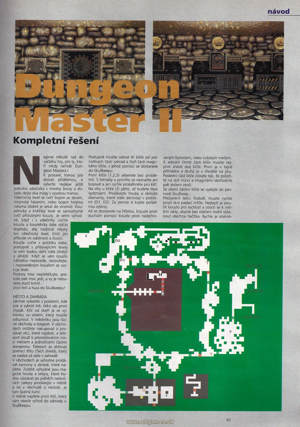 Dungeon Master II Hints published in Czech magazine 'Level', Issue #8 September 1995, Page 45