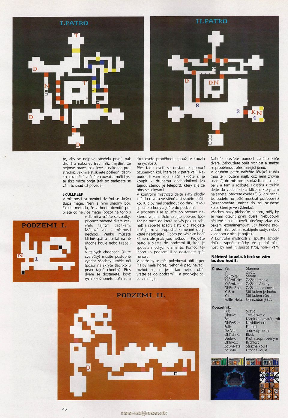 Dungeon Master II Hints published in Czech magazine 'Level', Issue #8 September 1995, Page 46