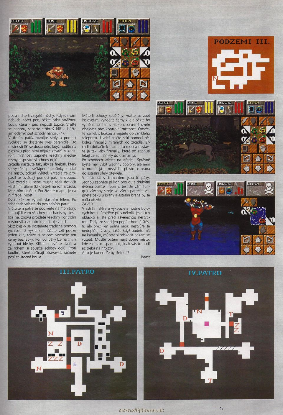 Dungeon Master II Hints published in Czech magazine 'Level', Issue #8 September 1995, Page 47