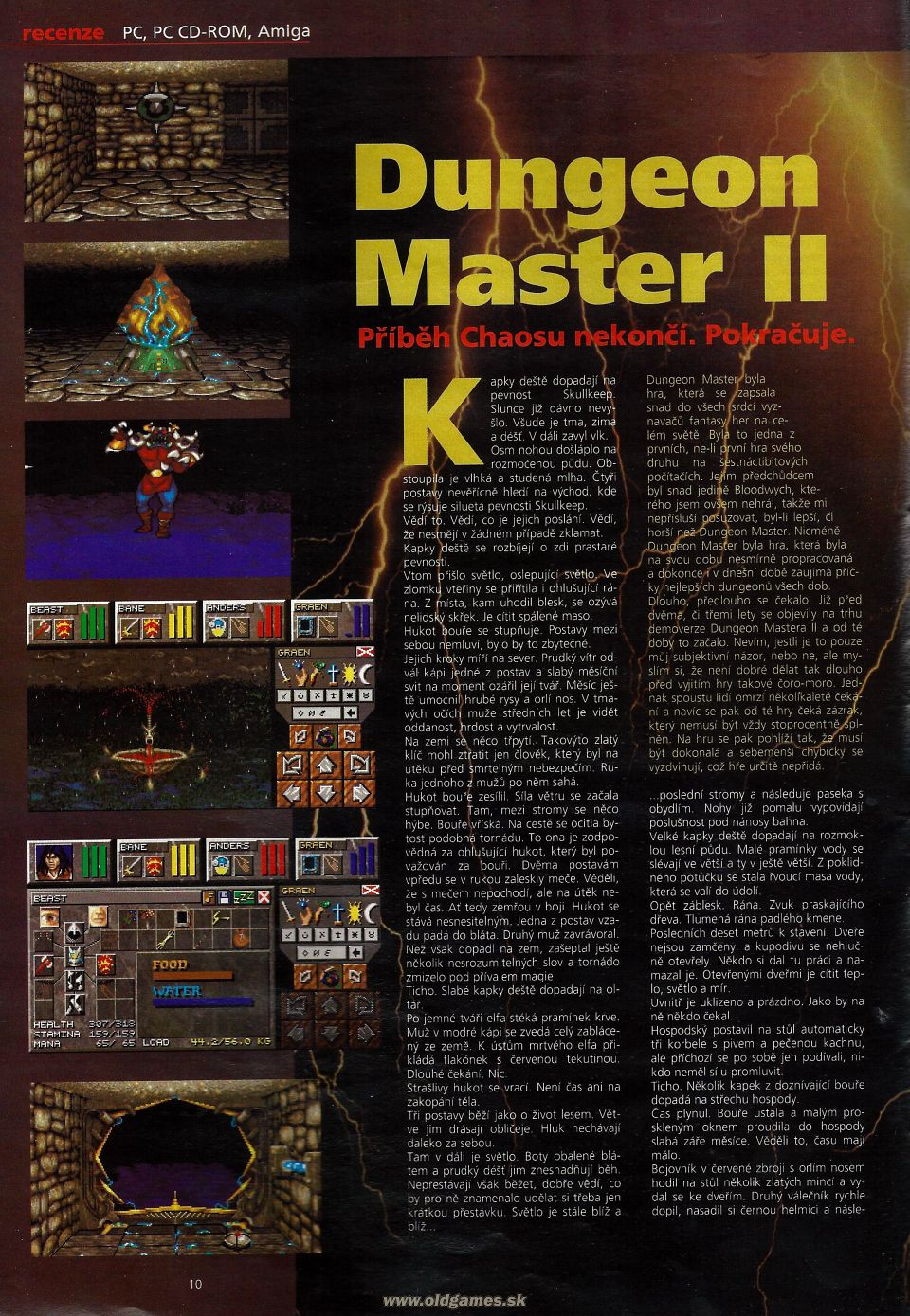 Dungeon Master II for PC Review published in Czech magazine 'Level', Issue #8 September 1995, Page 10