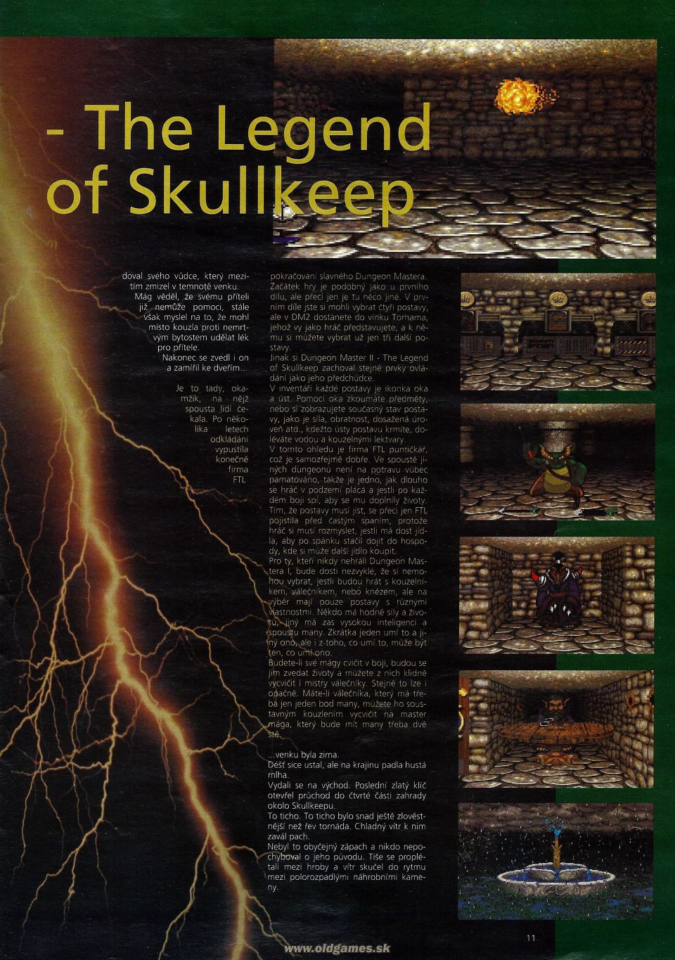 Dungeon Master II for PC Review published in Czech magazine 'Level', Issue #8 September 1995, Page 11