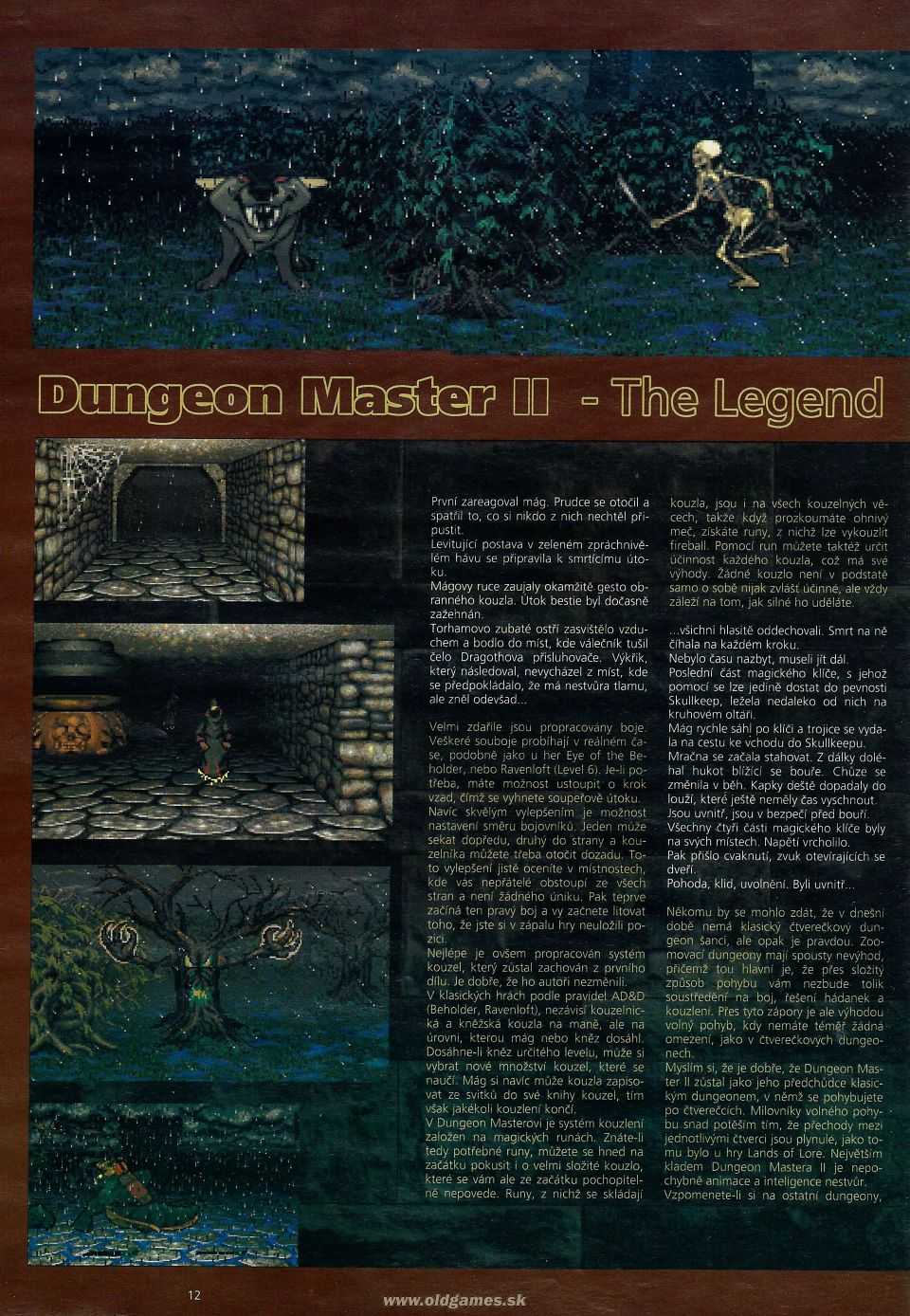 Dungeon Master II for PC Review published in Czech magazine 'Level', Issue #8 September 1995, Page 12