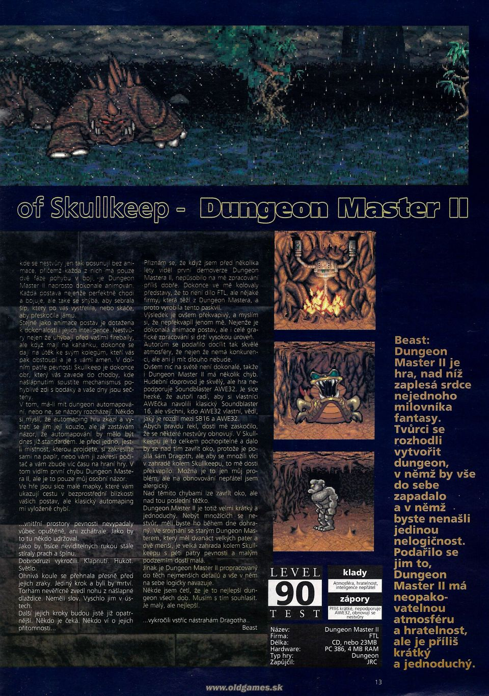Dungeon Master II for PC Review published in Czech magazine 'Level', Issue #8 September 1995, Page 13