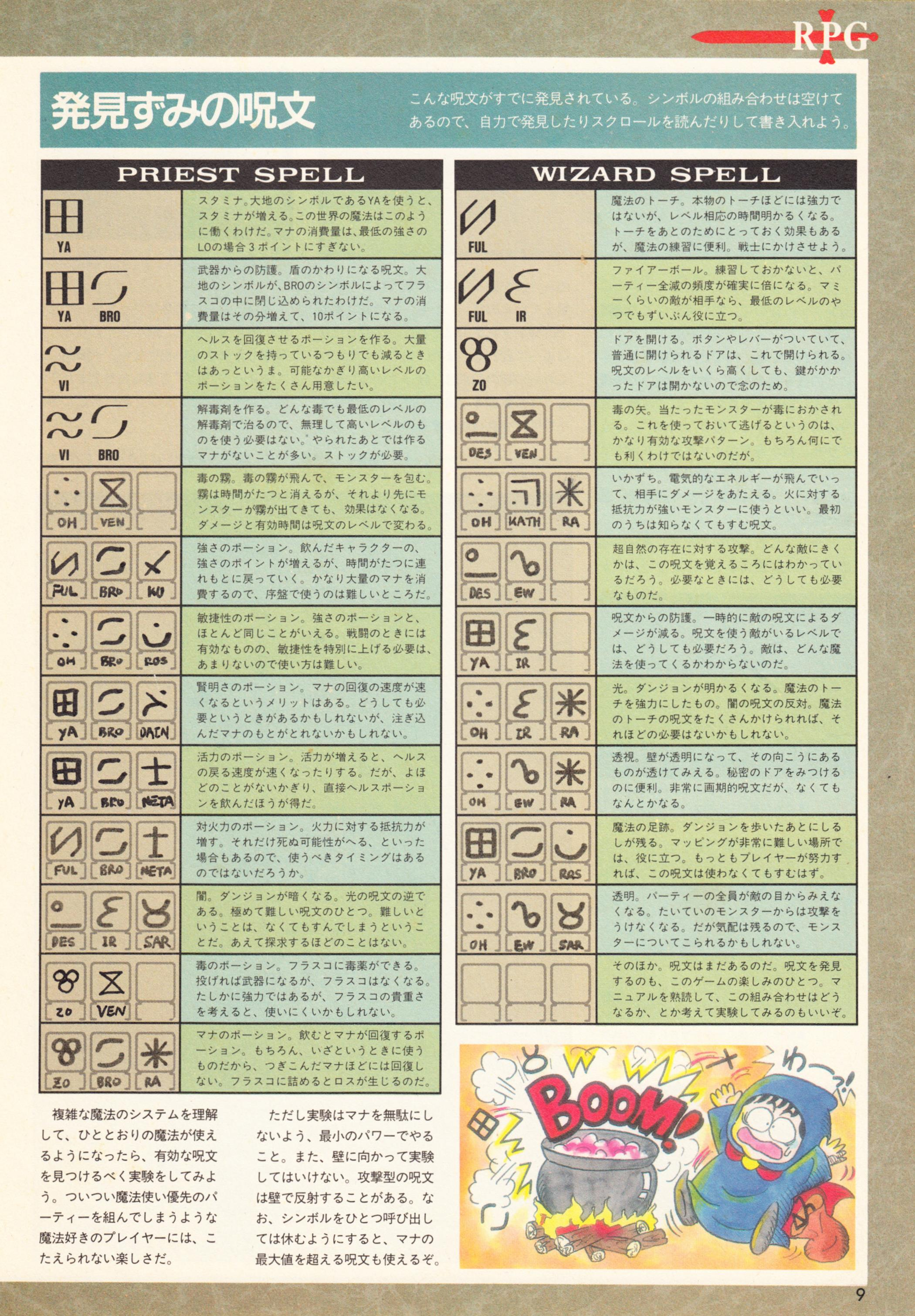 Special Supplement 2 - Dungeon Master Guide published in Japanese magazine 'Login', Vol 9 No 3 02 February 1990, Page 9