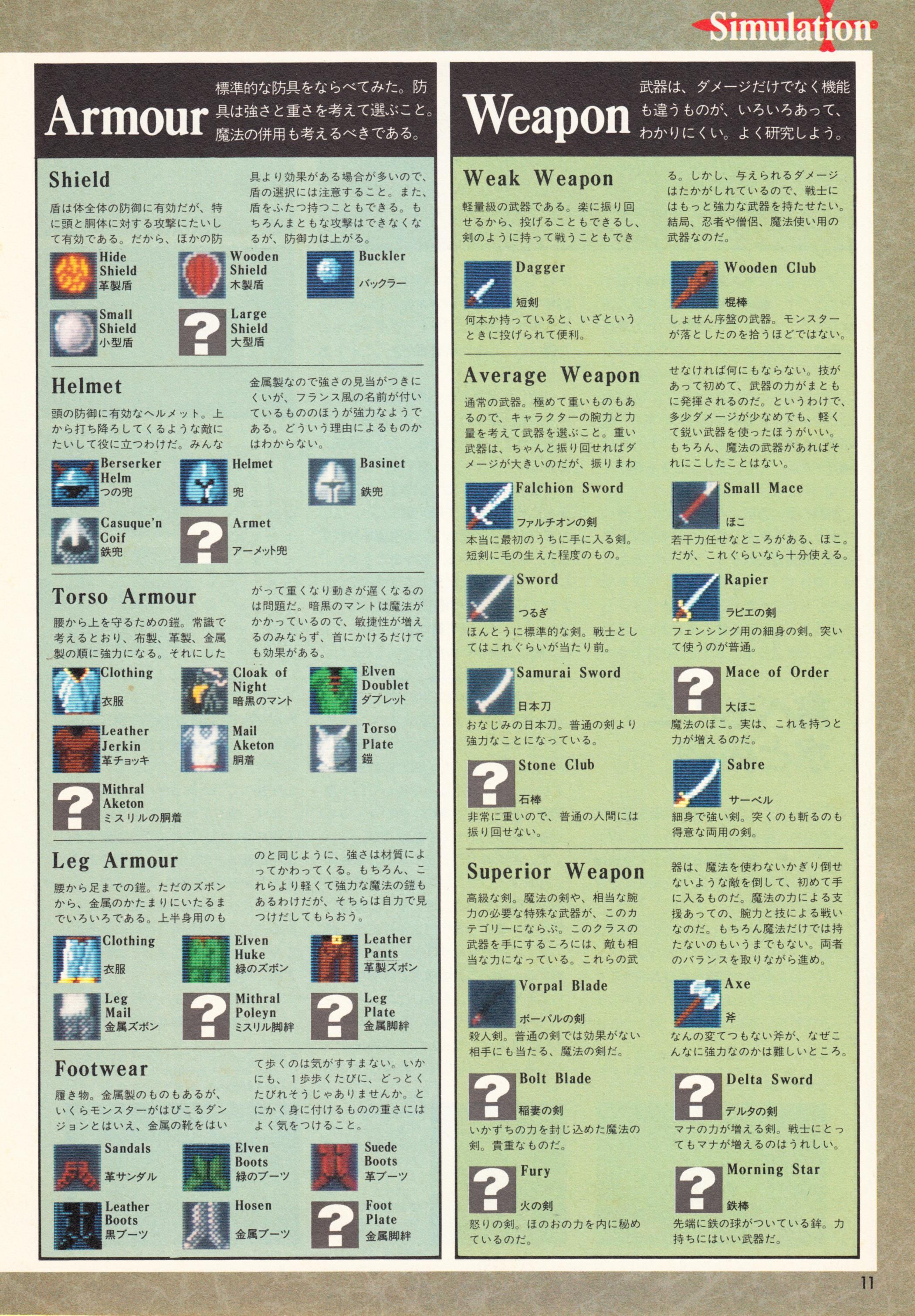 Special Supplement 2 - Dungeon Master Guide published in Japanese magazine 'Login', Vol 9 No 3 02 February 1990, Page 11