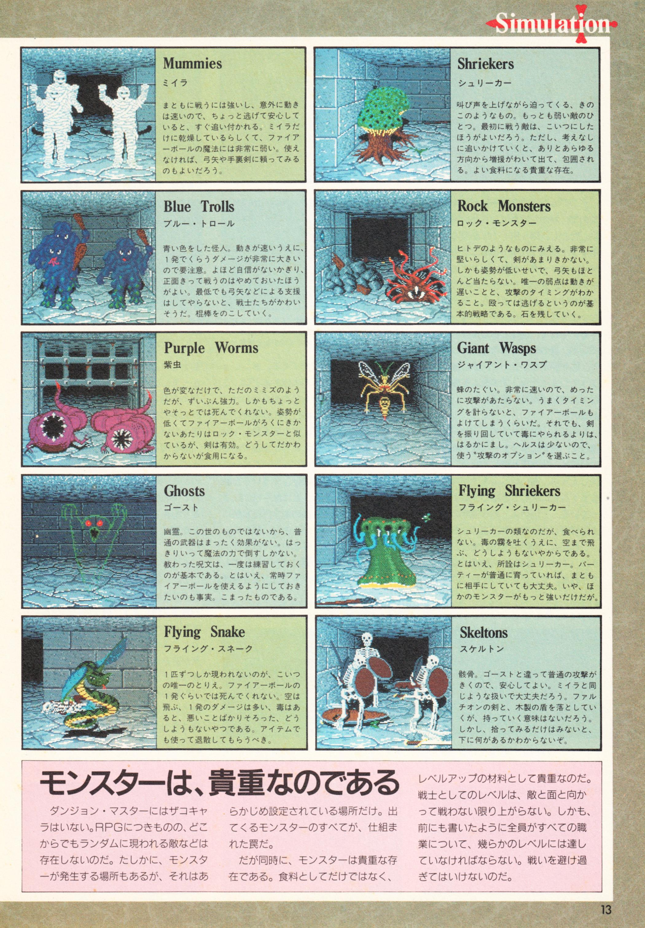 Special Supplement 2 - Dungeon Master Guide published in Japanese magazine 'Login', Vol 9 No 3 02 February 1990, Page 13
