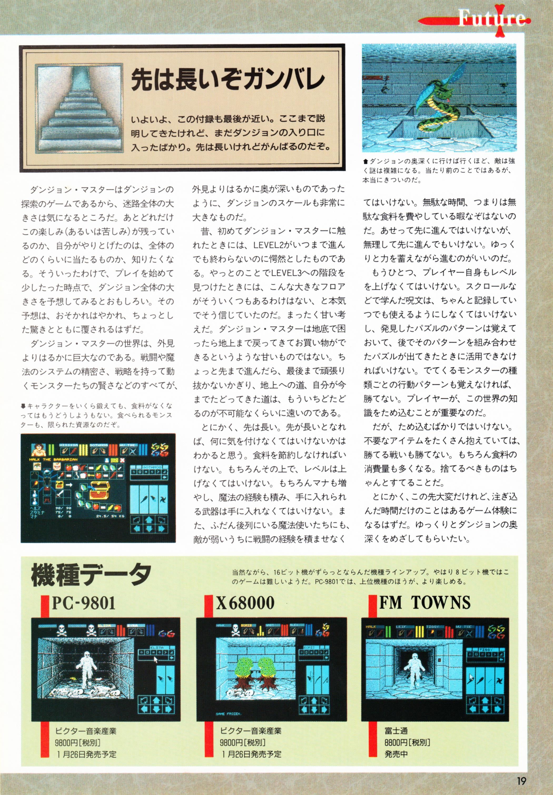 Special Supplement 2 - Dungeon Master Guide published in Japanese magazine 'Login', Vol 9 No 3 02 February 1990, Page 19