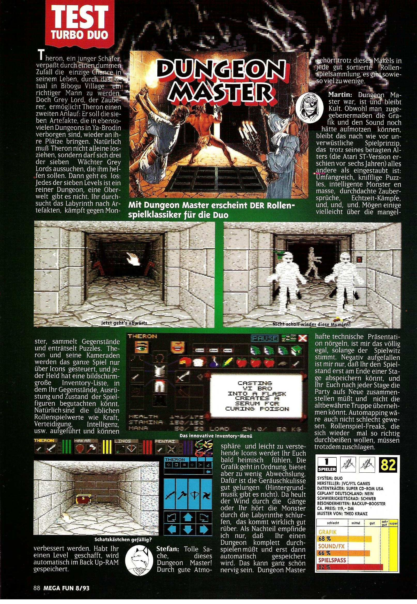 Theron's Quest for Turbografx Review published in German magazine 'Mega Fun', August 1993, Page 88