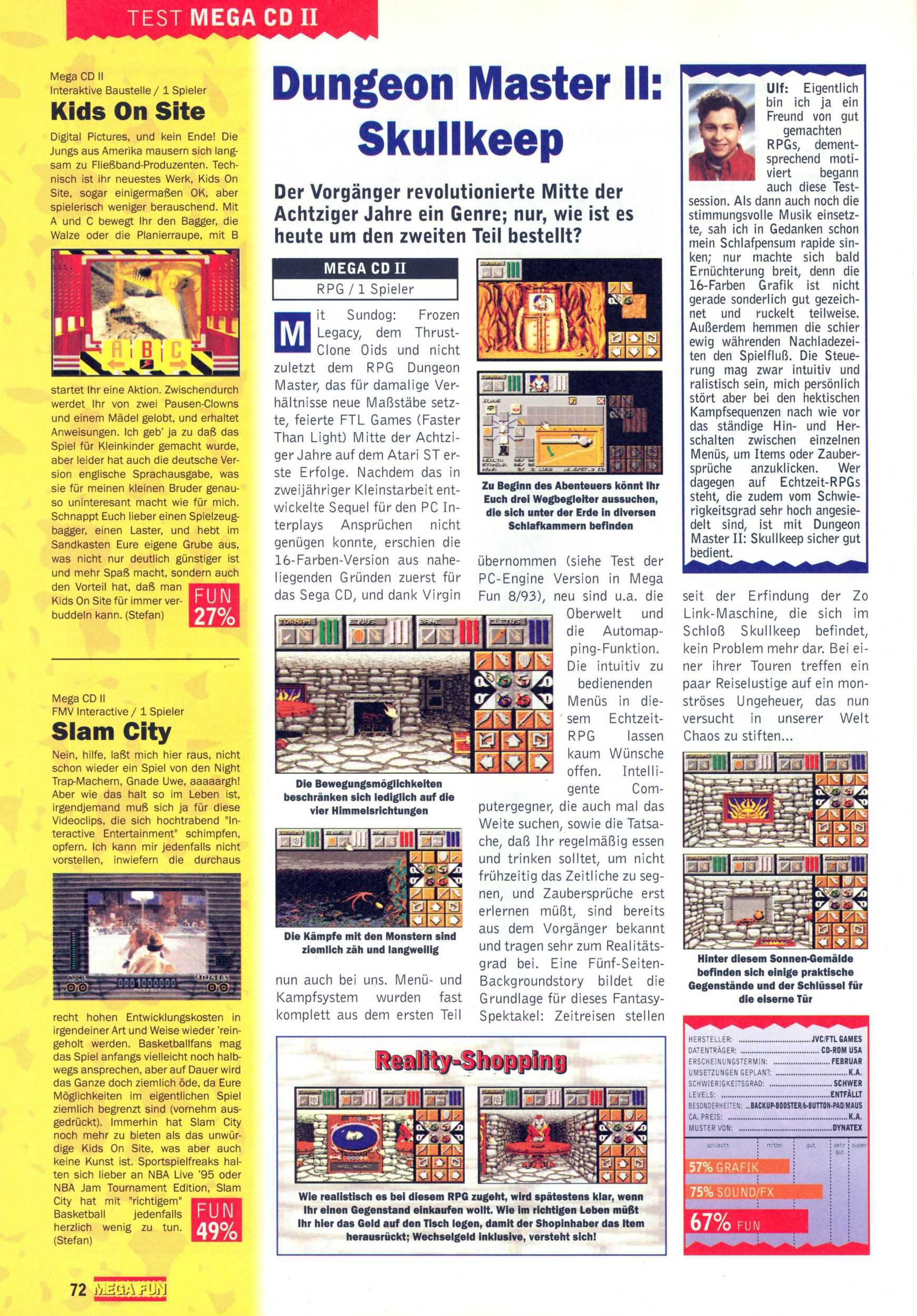 Dungeon Master II for Mega CD Review published in German magazine 'Mega Fun', March 1995, Page 72