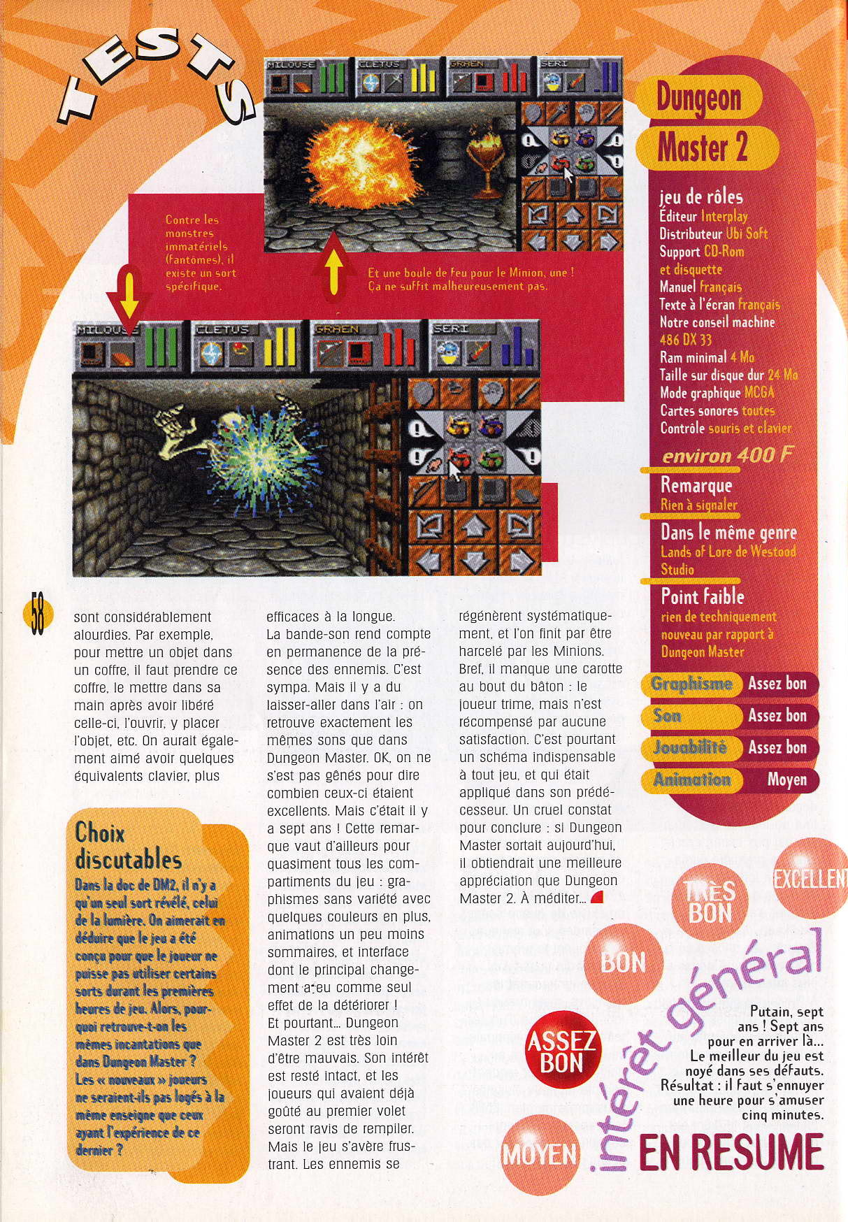 Dungeon Master II for PC Review published in French magazine 'Multimedia PC Player', Issue #24 September 1995, Page 58