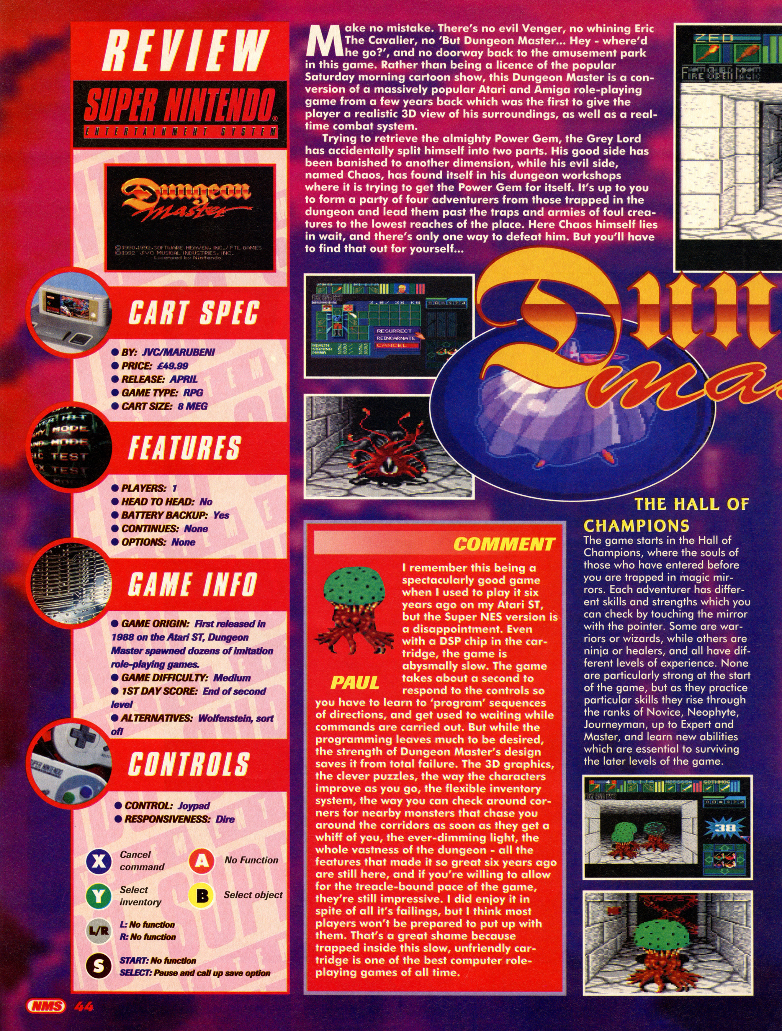 Dungeon Master for Super NES Review published in British magazine 'Nintendo Magazine System', Issue #19 April 1994, Page 44