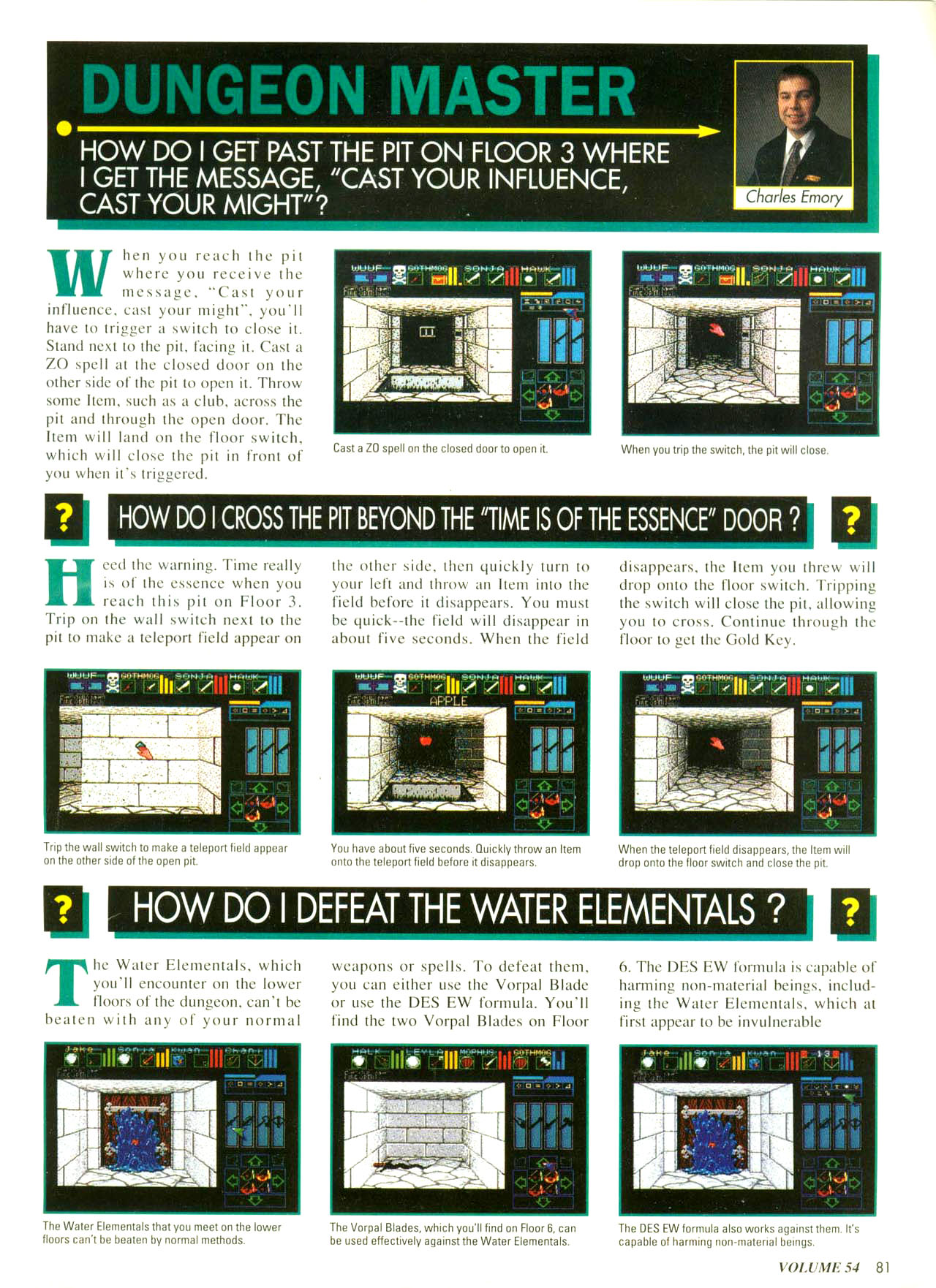 Dungeon Master for Super NES Hints published in American magazine 'Nintendo Power', Issue #54 November 1993, Page 81