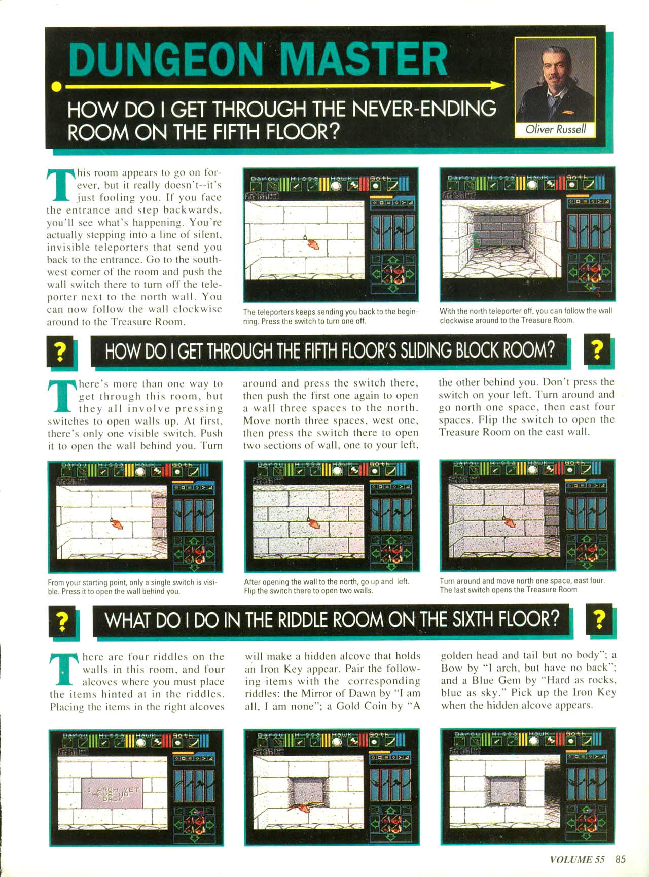 Dungeon Master for Super NES Hints published in American magazine 'Nintendo Power', Issue #55 December 1993, Page 85