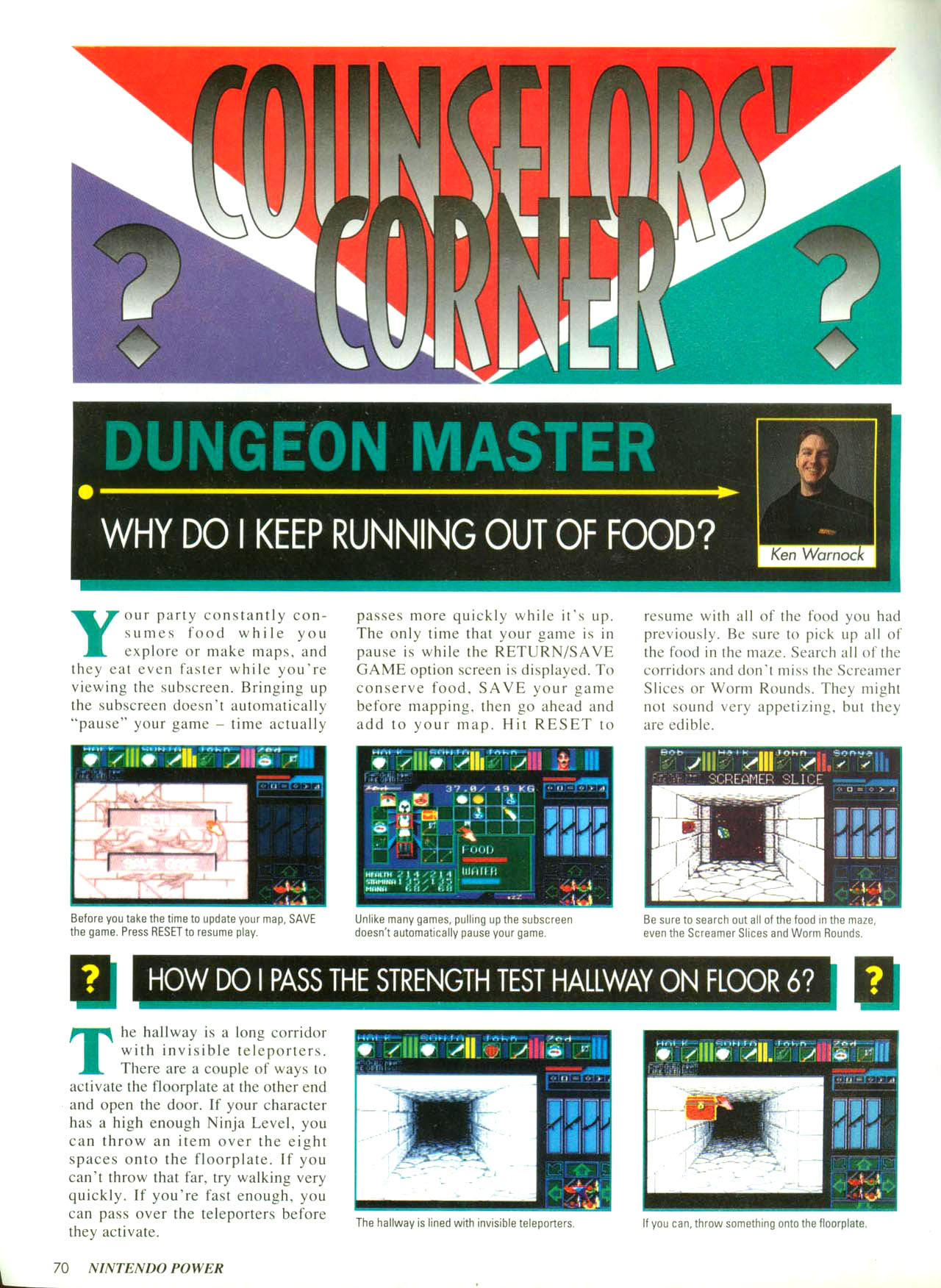 Dungeon Master for Super NES Hints published in American magazine 'Nintendo Power', Issue #57 February 1994, Page 70