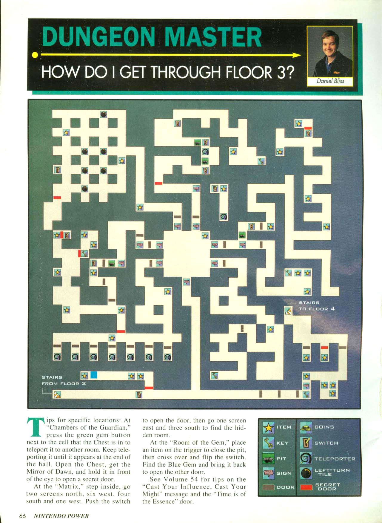 Dungeon Master for Super NES Hints published in American magazine 'Nintendo Power', Issue #58 March 1994, Page 66