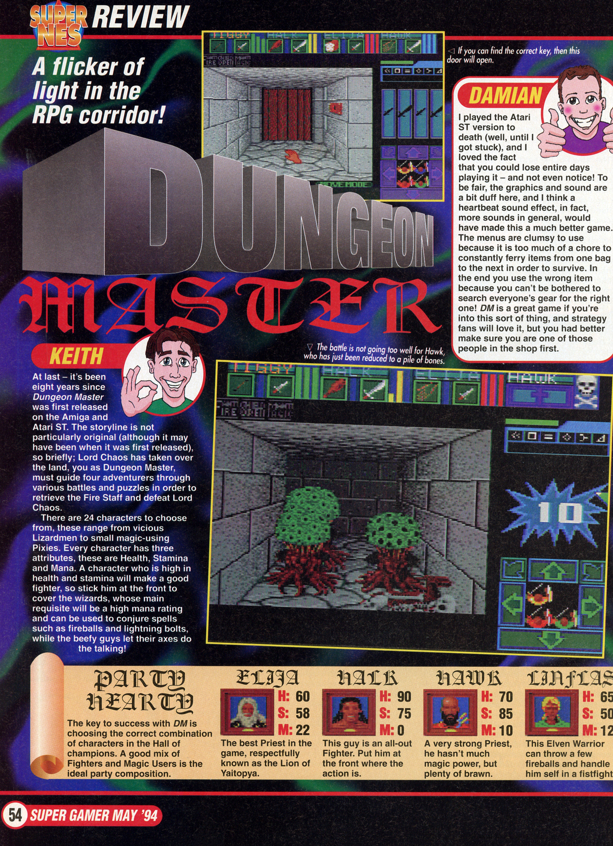 Dungeon Master for Super NES Review published in British magazine 'Nintendo Super Gamer', Issue #2 May 1994, Page 54
