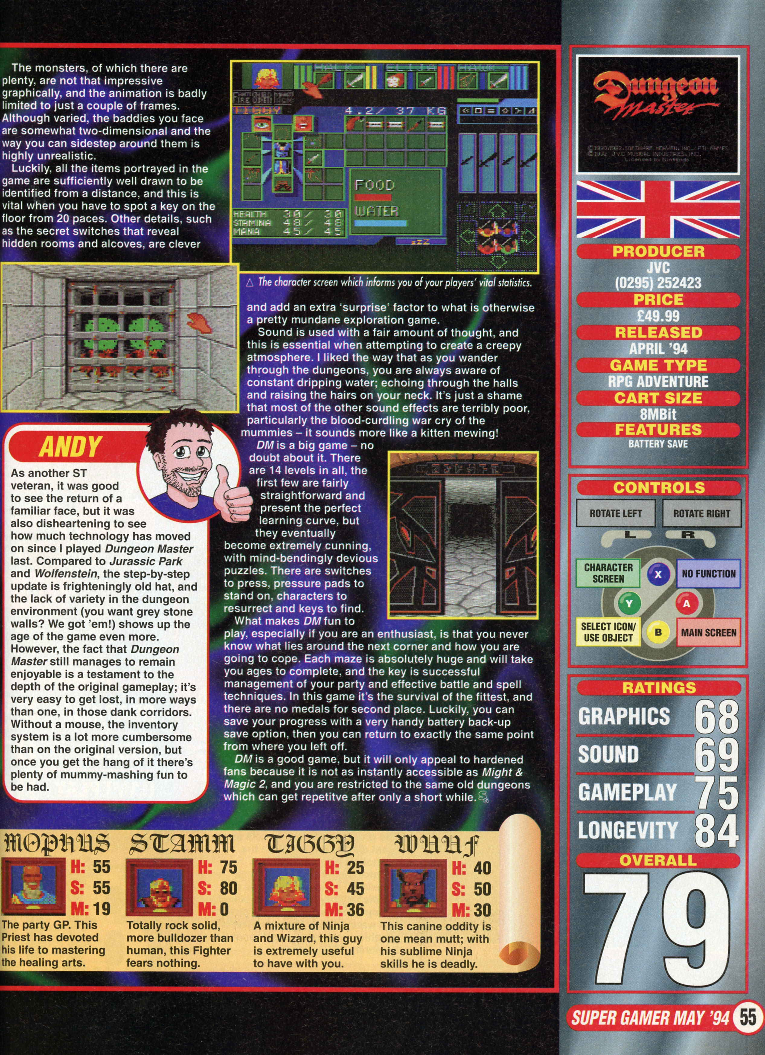 Dungeon Master for Super NES Review published in British magazine 'Nintendo Super Gamer', Issue #2 May 1994, Page 55