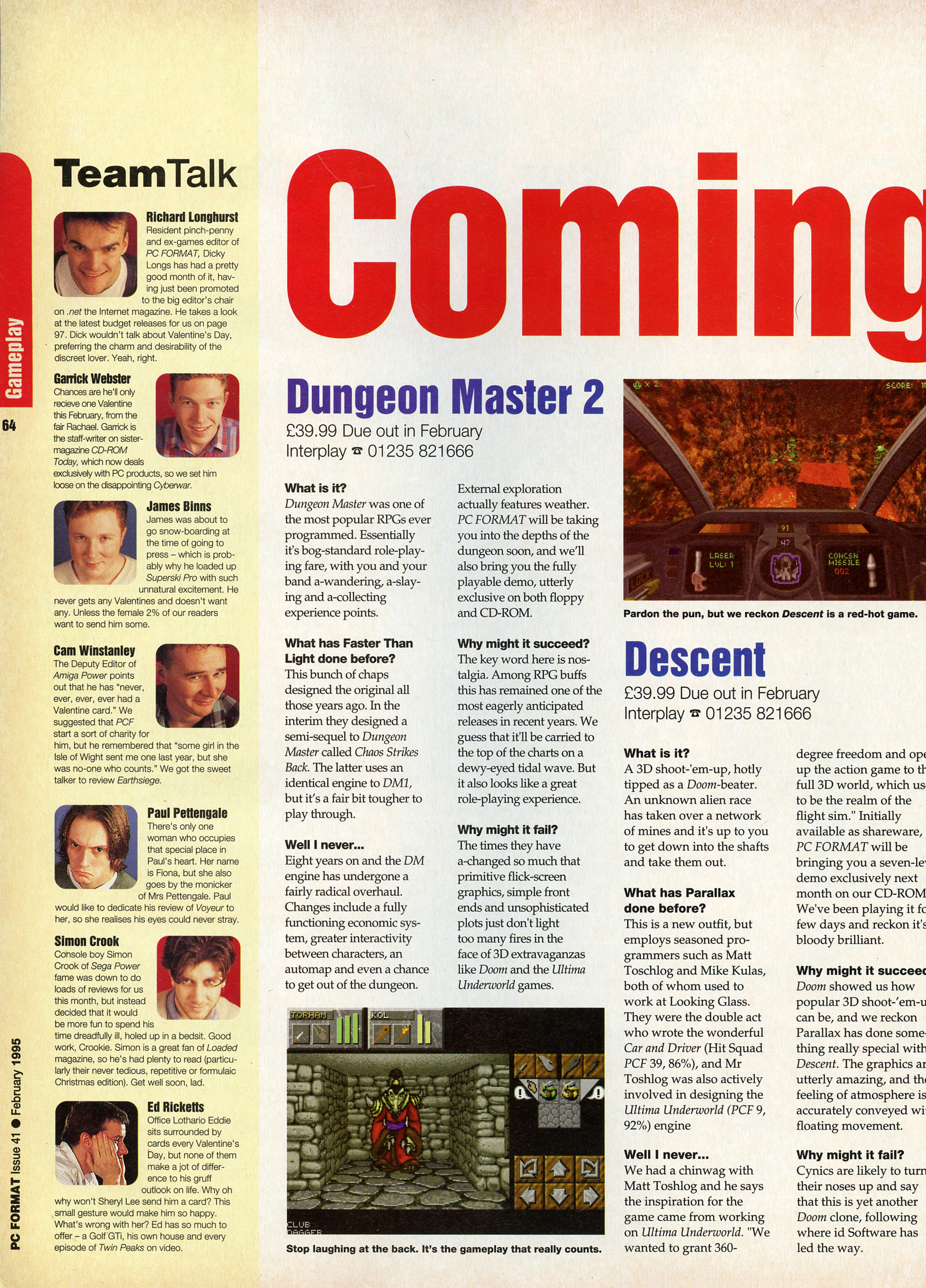 Dungeon Master II Preview published in British magazine 'PC Format', Issue #41 February 1995, Page 64