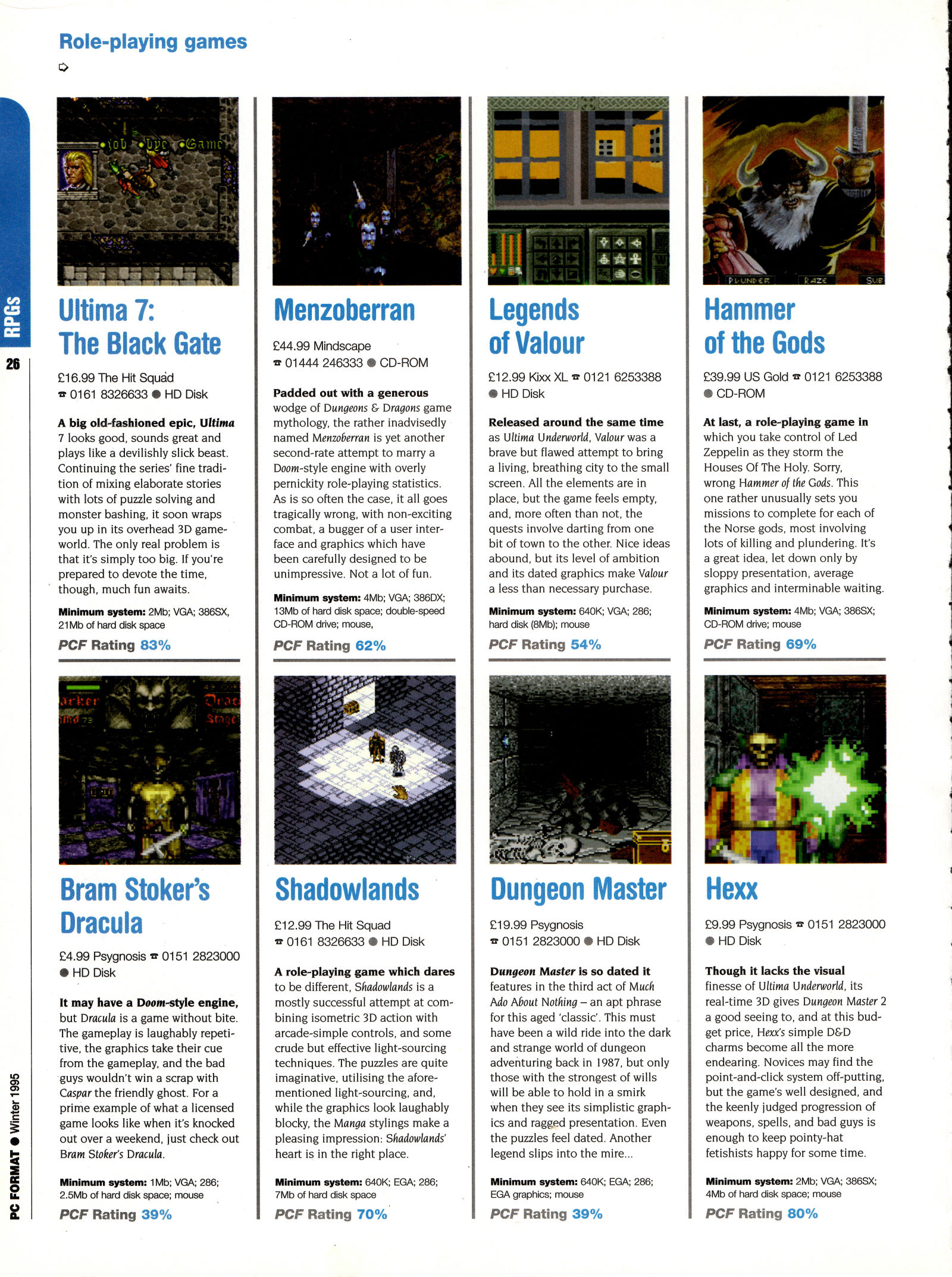 Dungeon Master for PC Review published in British magazine 'PC Format', Winter 1995, Page 26