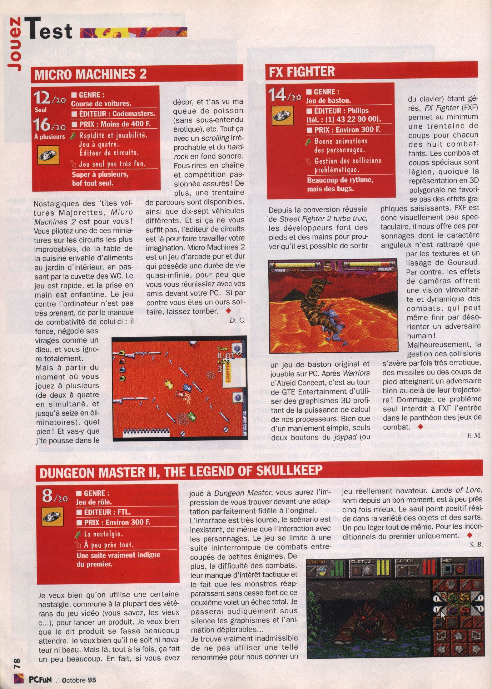 Dungeon Master II for PC Review published in French magazine 'PC Fun', Issue #8 October 1995, Page 78