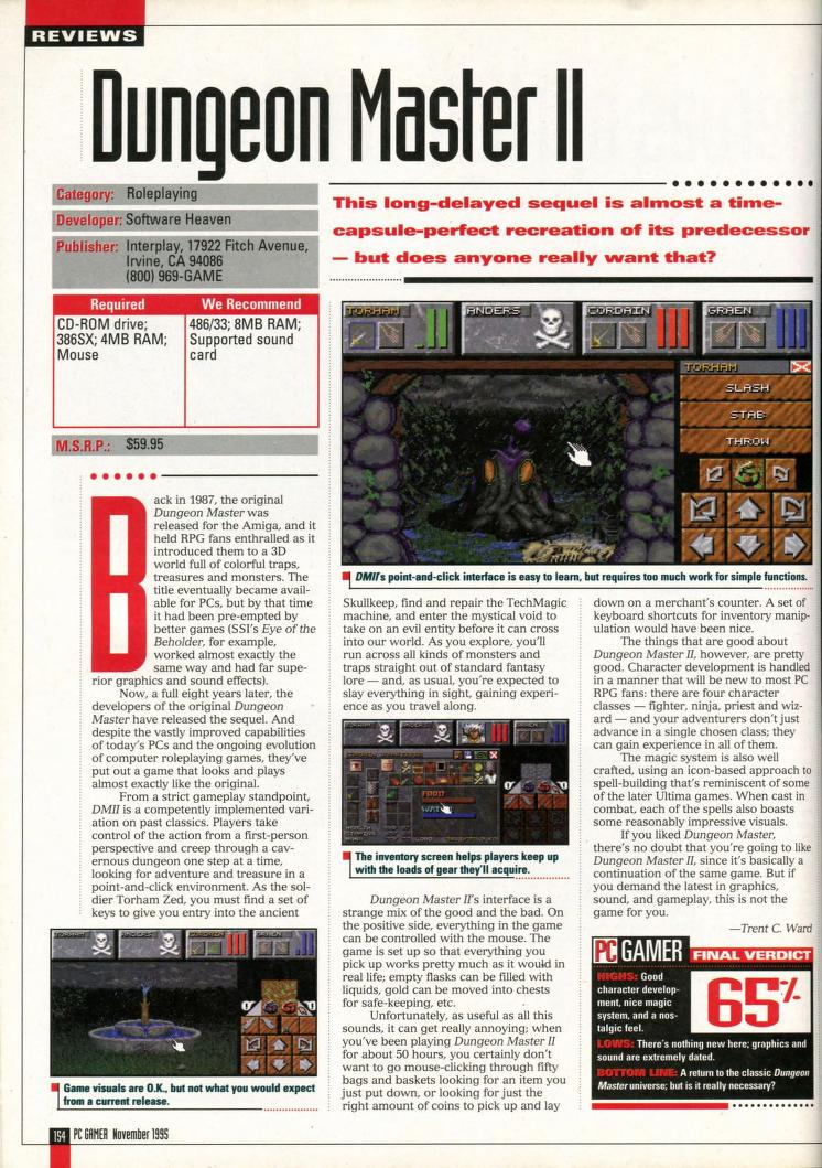 Dungeon Master II for PC Review published in American magazine 'PC Gamer', Vol 2 No 11 November 1995, Page 154