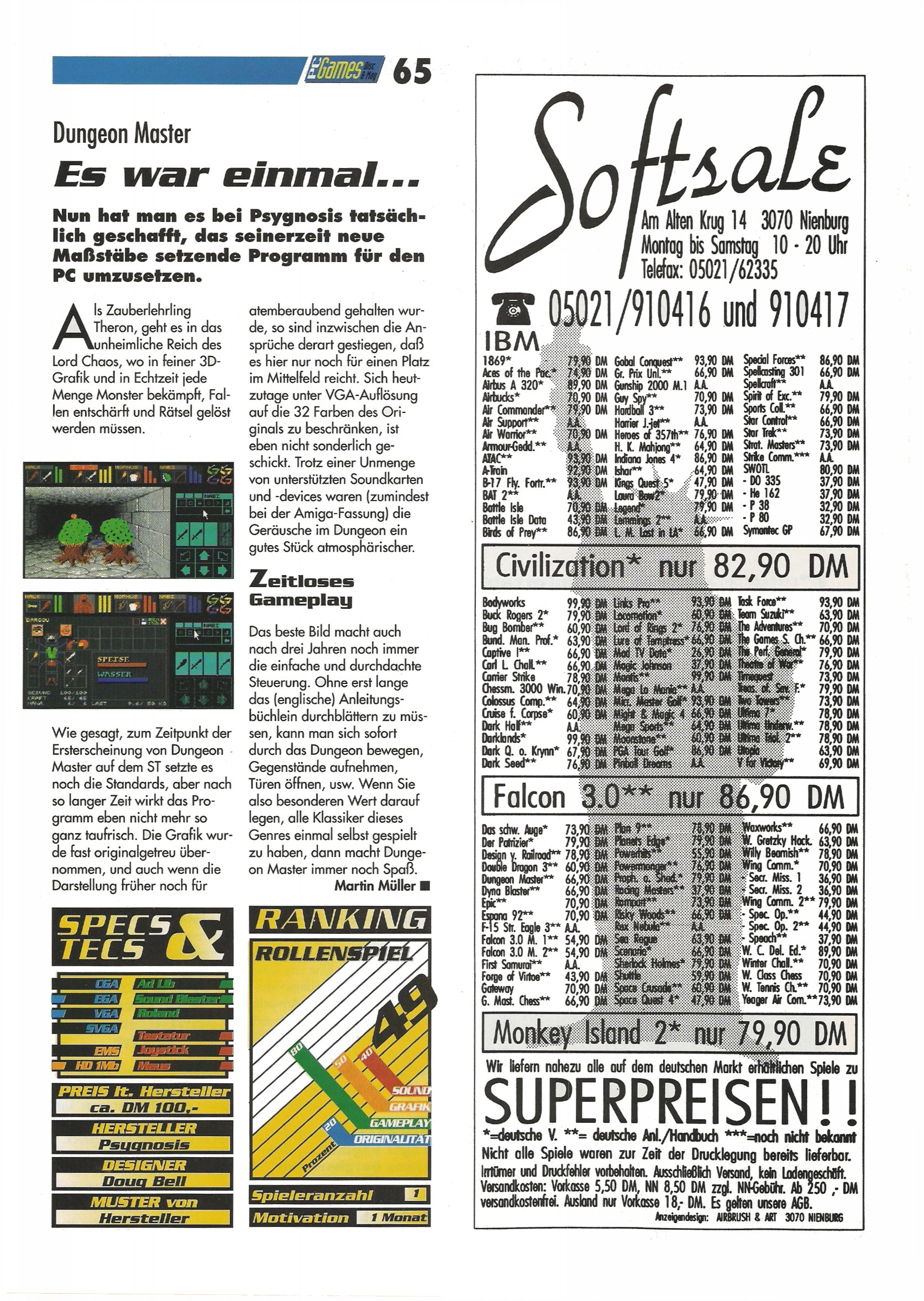 Dungeon Master for PC Review published in German magazine 'PC Games', October 1992, Page 65