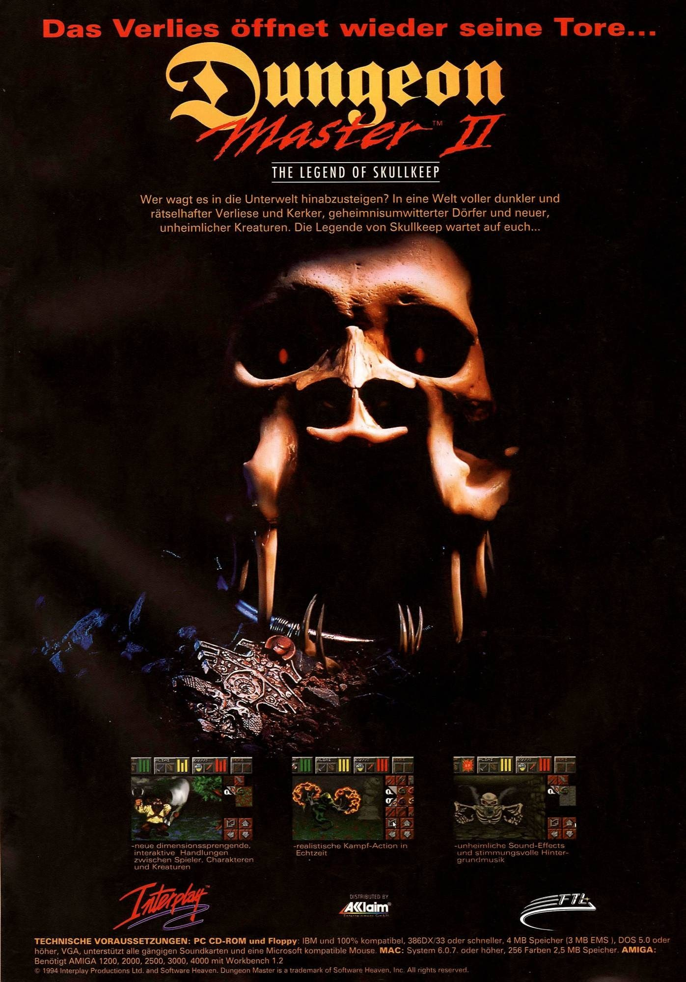 Dungeon Master II for PC Advertisement published in German magazine 'PC Games', September 1995, Page 47
