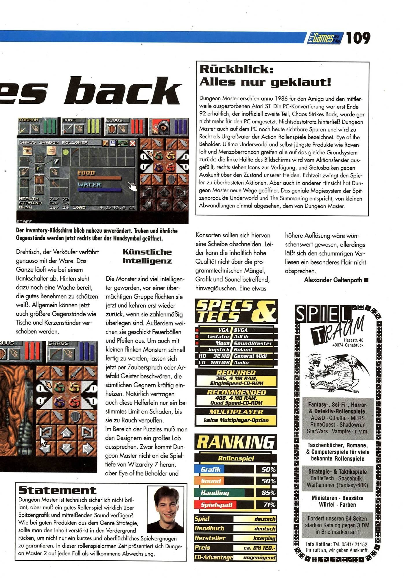Dungeon Master II for PC Review published in German magazine 'PC Games', September 1995, Page 109