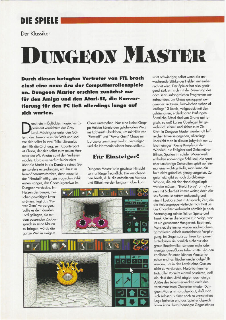 Dungeon Master for PC Review published in German magazine 'PC Games', Sonder Heft 1 July 1993, Page 38
