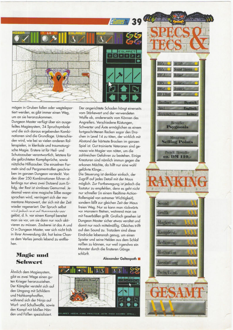 Dungeon Master for PC Review published in German magazine 'PC Games', Sonder Heft 1 July 1993, Page 39