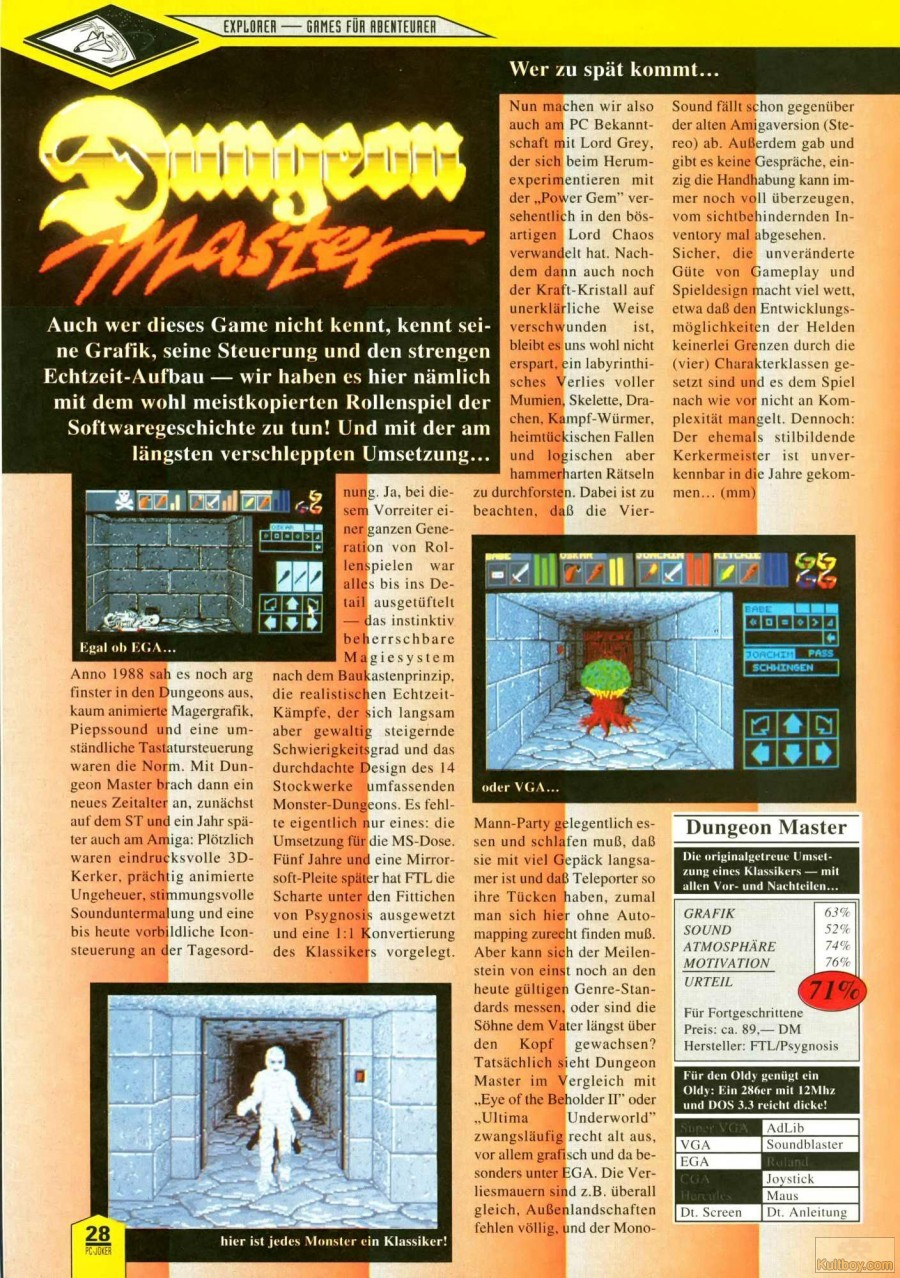 Dungeon Master for PC Review published in German magazine 'PC Joker', May 1992, Page 28