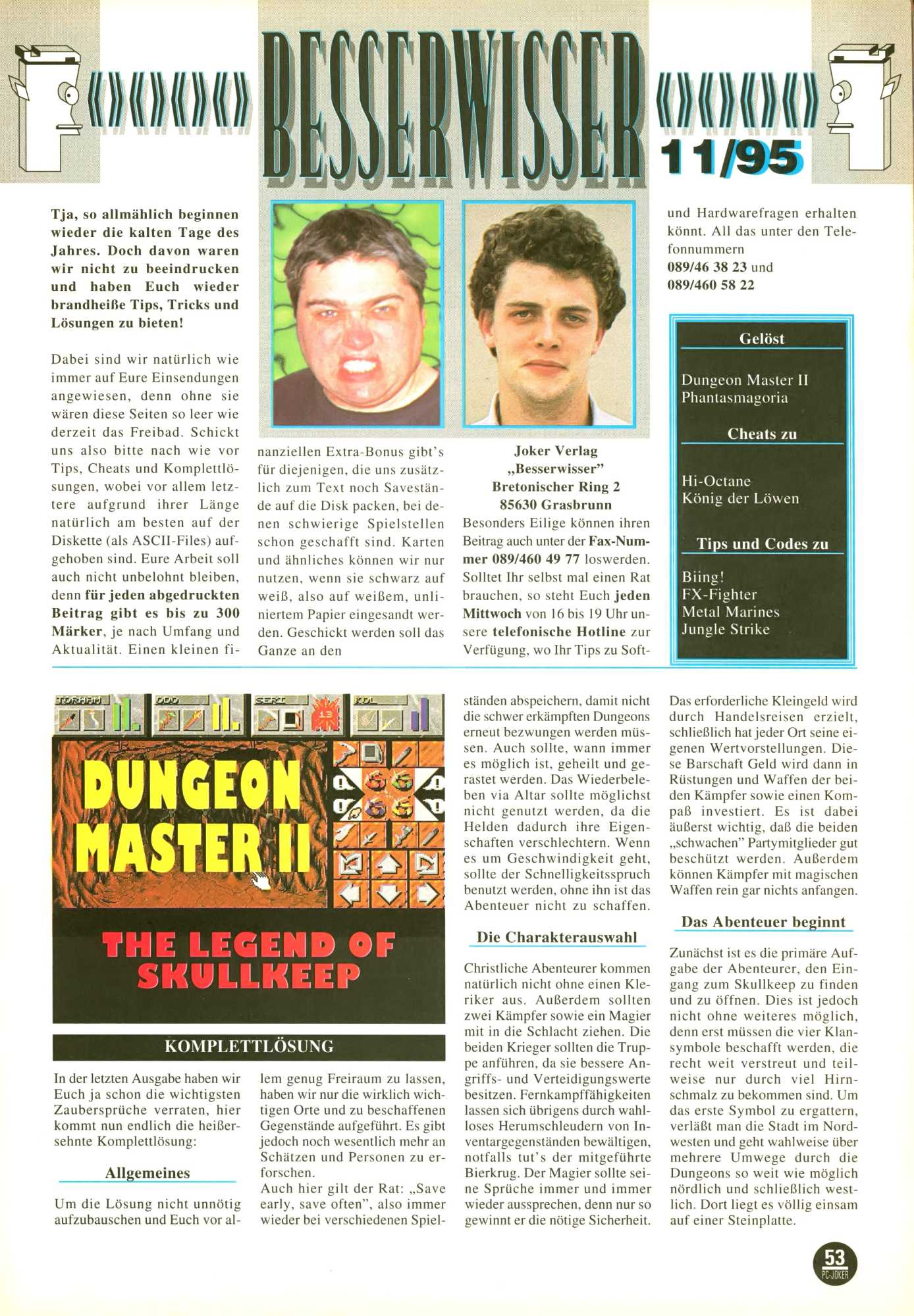Dungeon Master II for PC Guide published in German magazine 'PC Joker', November 1995, Page 53