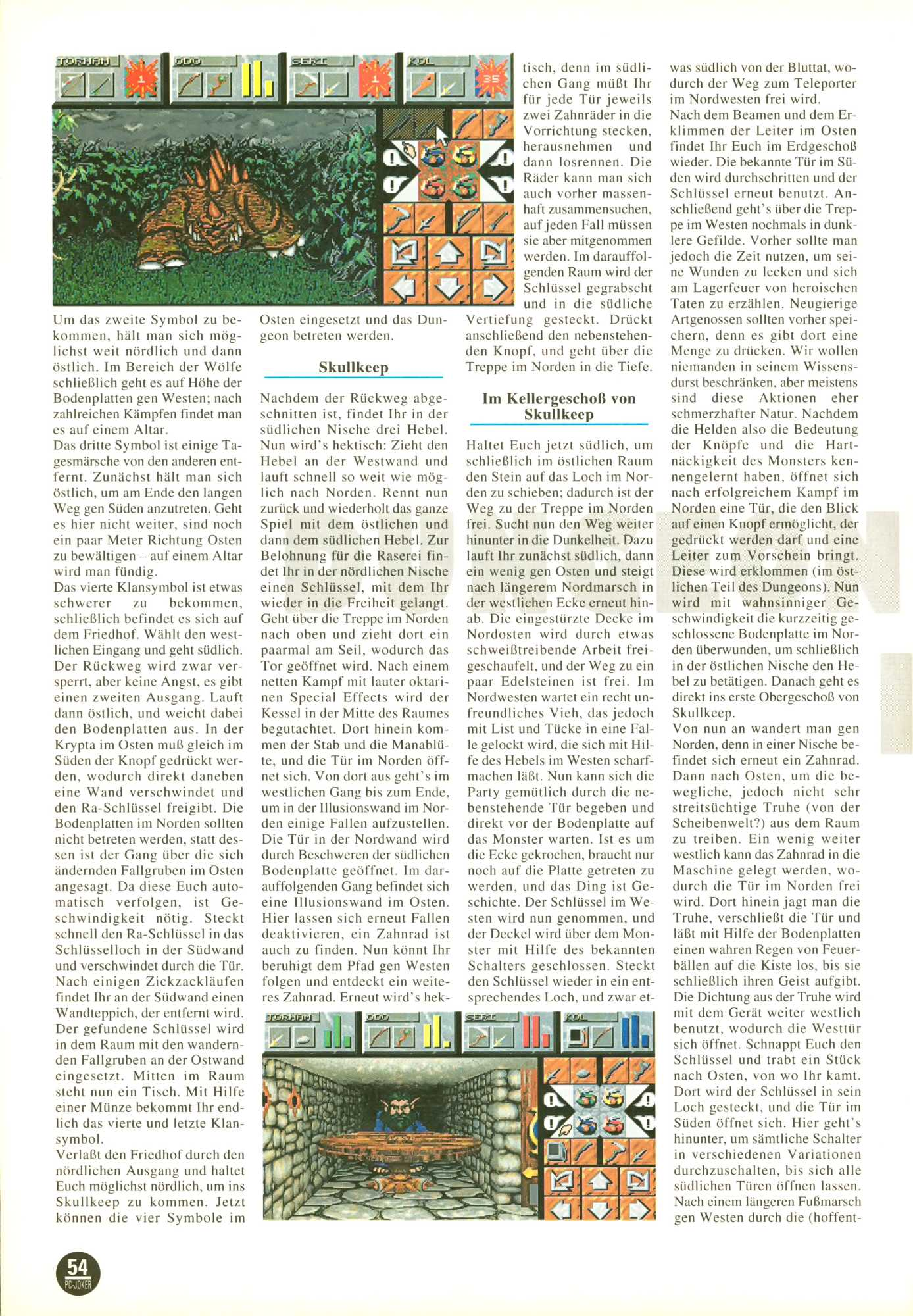 Dungeon Master II for PC Guide published in German magazine 'PC Joker', November 1995, Page 54