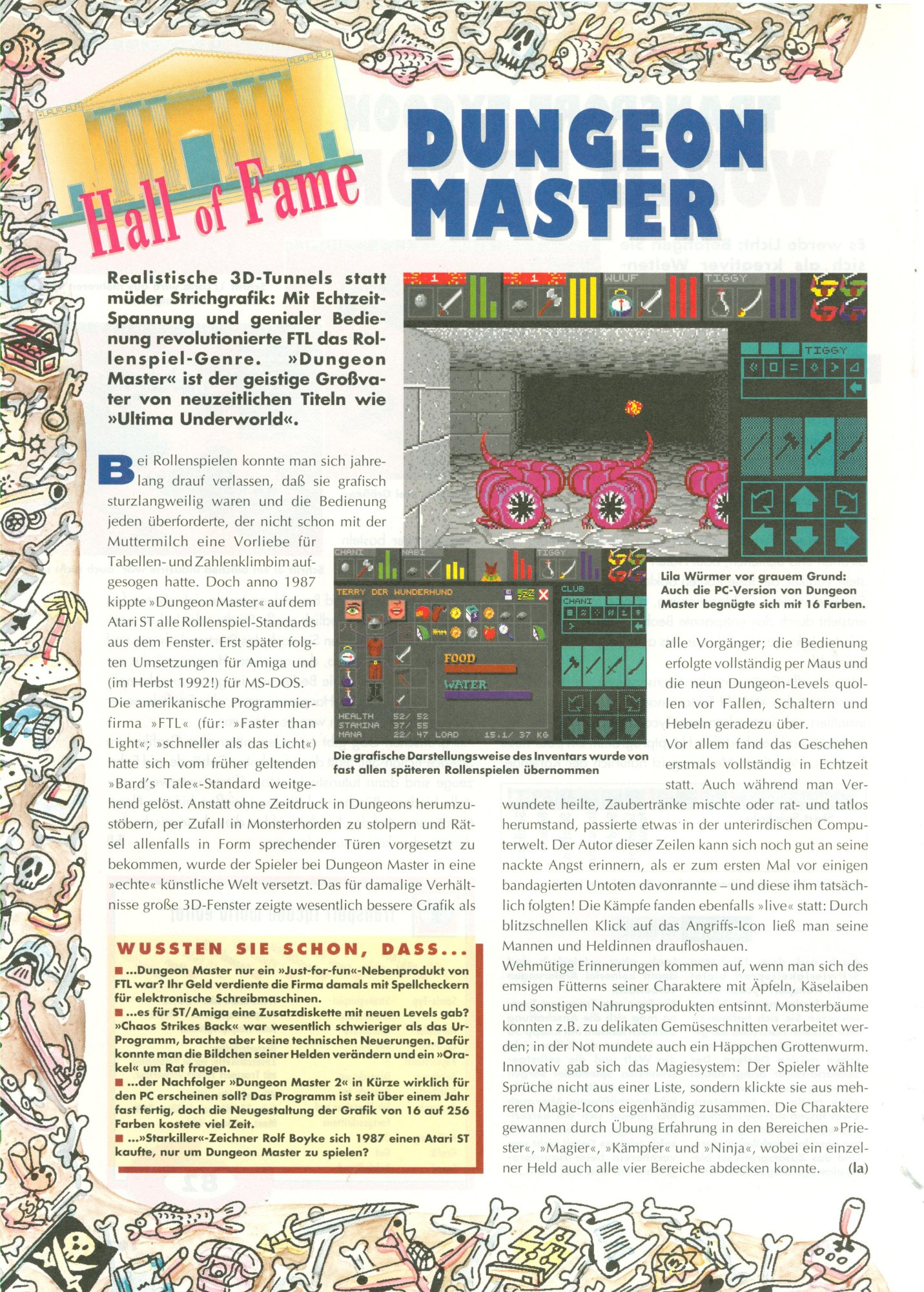 Dungeon Master for PC Review published in German magazine 'PC Player', April 1995, Page 104
