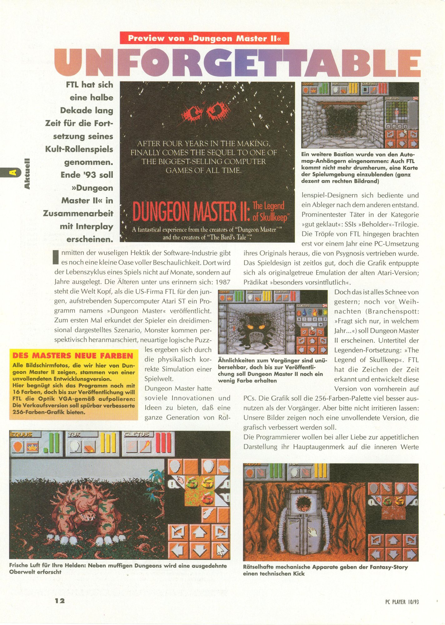 Dungeon Master II for PC Preview published in German magazine 'PC Player', October 1993, Page 12