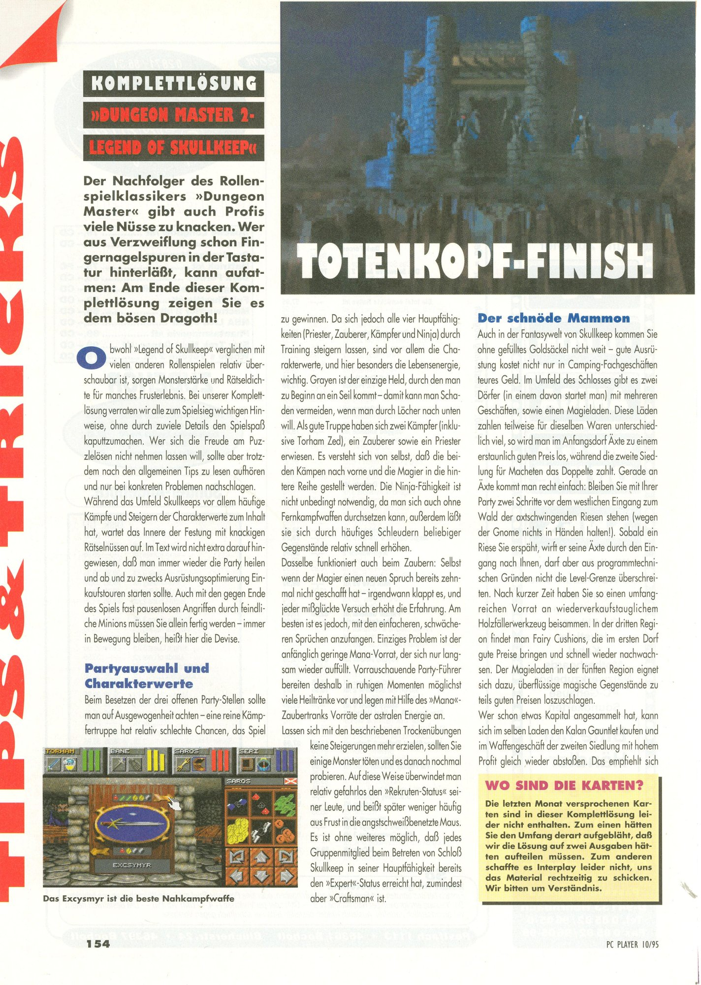 Dungeon Master II for PC Guide published in German magazine 'PC Player', October 1995, Page 154