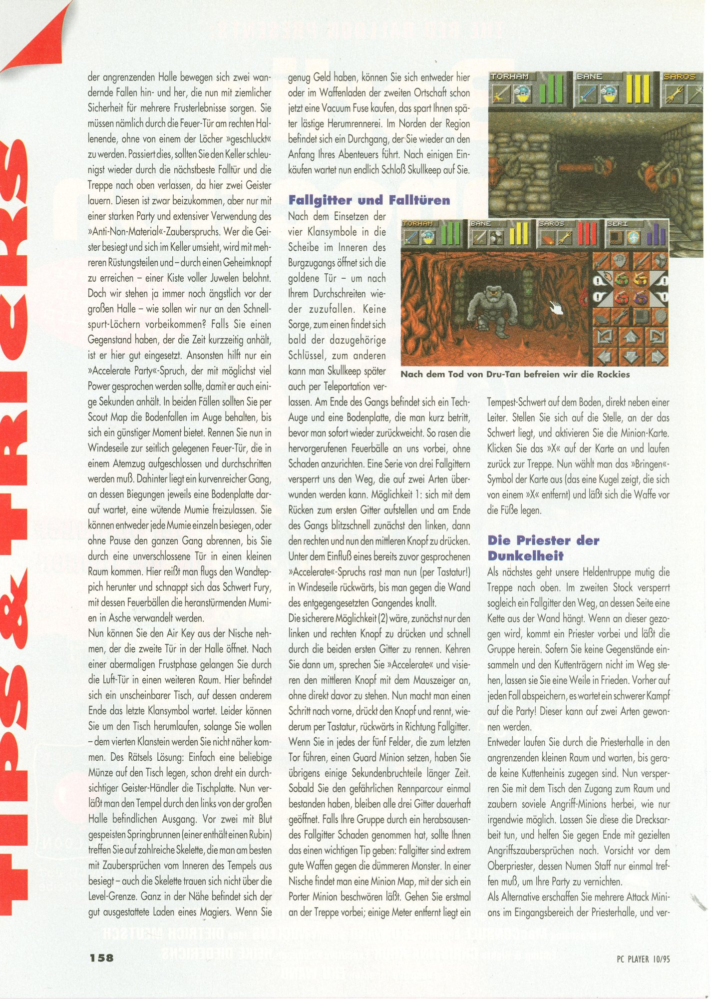 Dungeon Master II for PC Guide published in German magazine 'PC Player', October 1995, Page 158