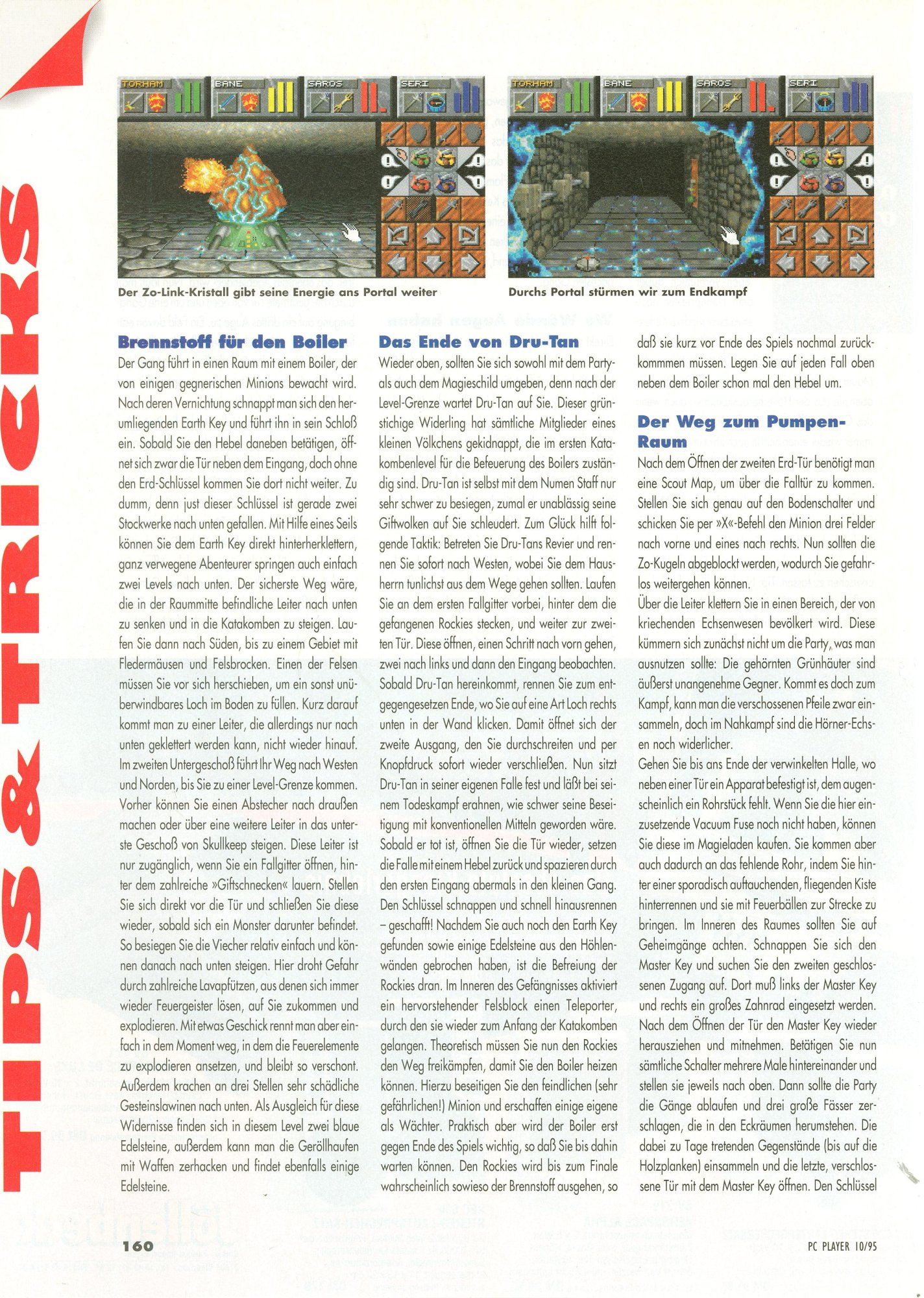 Dungeon Master II for PC Guide published in German magazine 'PC Player', October 1995, Page 160
