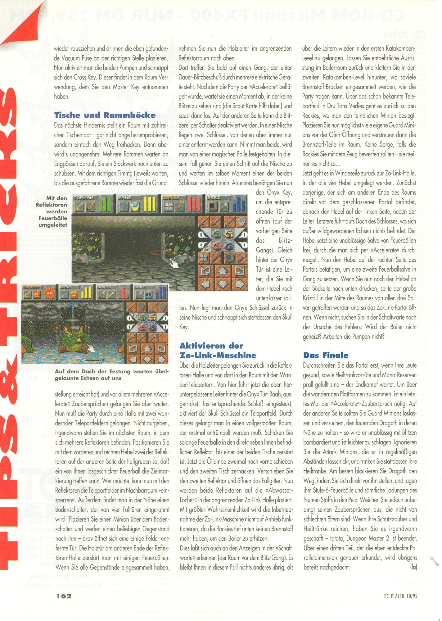 Dungeon Master II for PC Guide published in German magazine 'PC Player', October 1995, Page 162