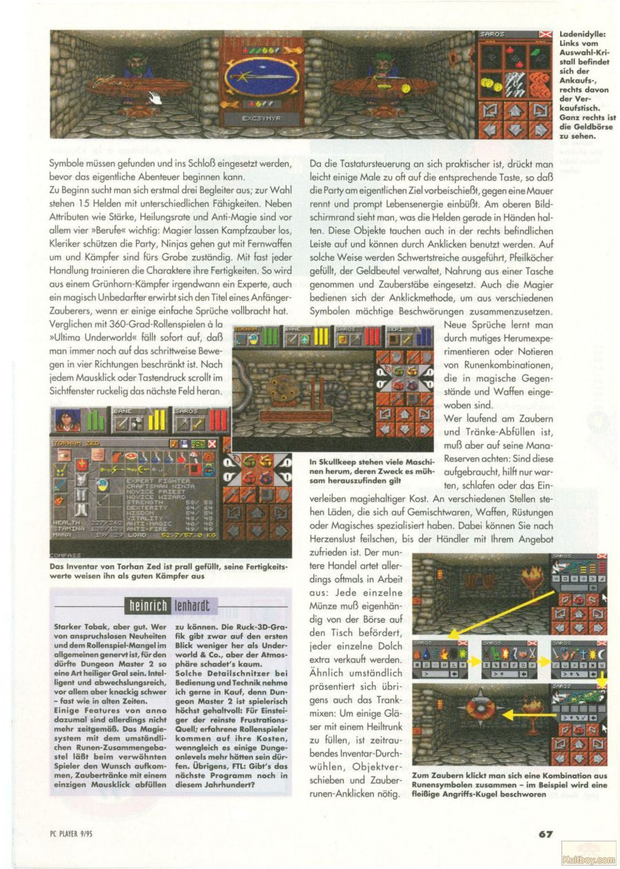 Dungeon Master II for PC Review published in German magazine 'PC Player', September 1995, Page 67