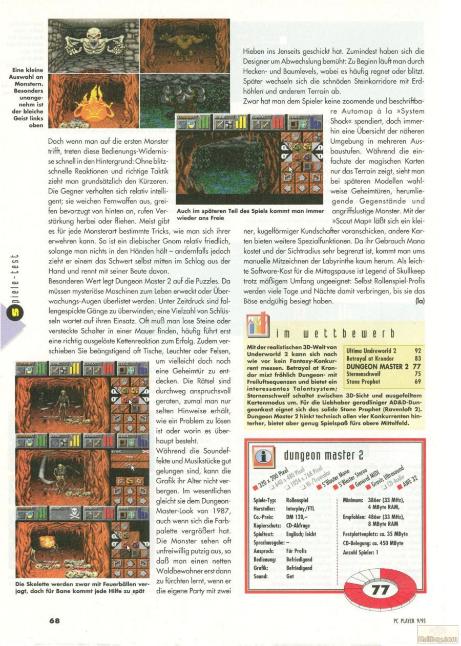 Dungeon Master II for PC Review published in German magazine 'PC Player', September 1995, Page 68