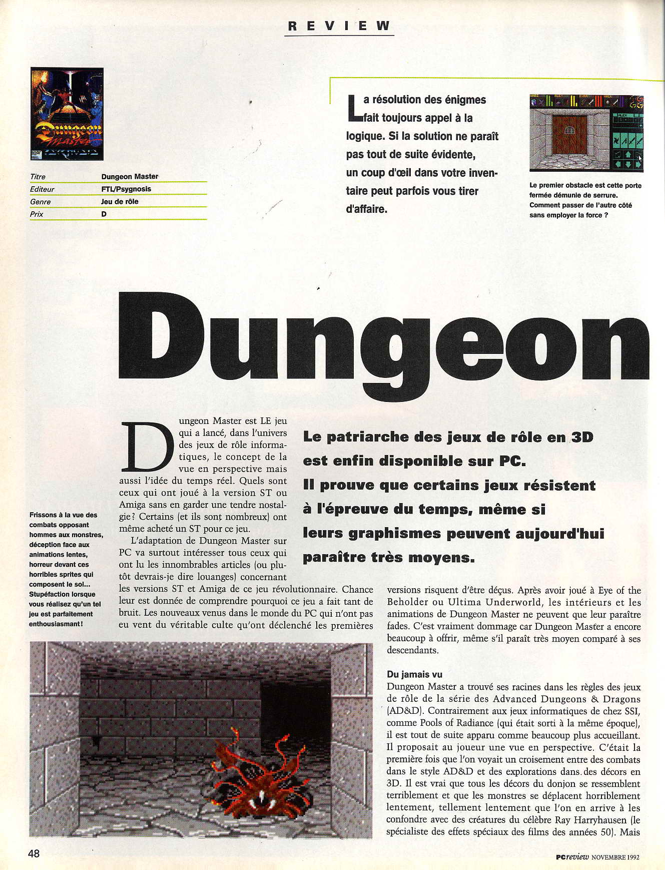 Dungeon Master for PC Review published in French magazine 'PC Review', Issue #2 November 1992, Page 48