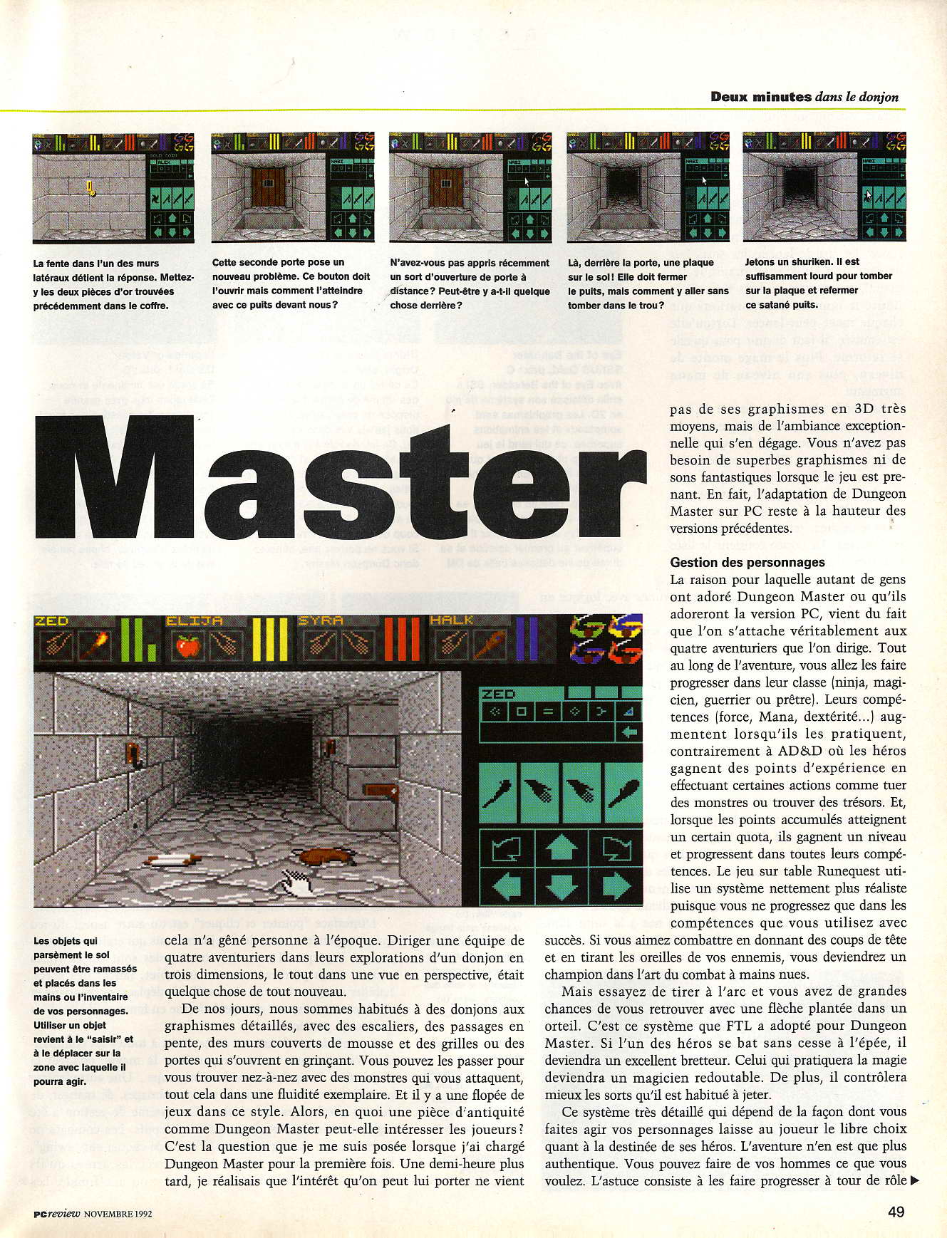 Dungeon Master for PC Review published in French magazine 'PC Review', Issue #2 November 1992, Page 49