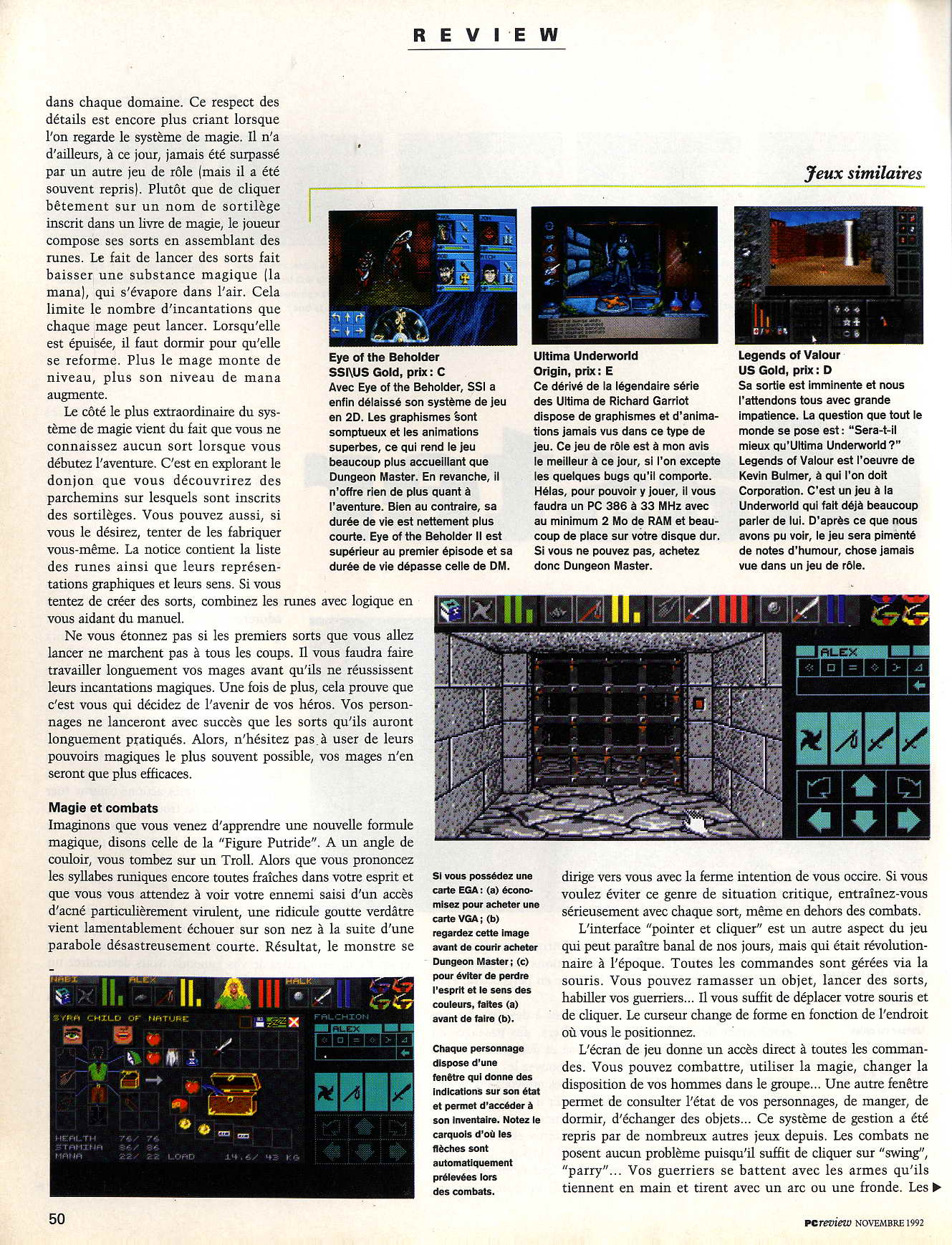 Dungeon Master for PC Review published in French magazine 'PC Review', Issue #2 November 1992, Page 50