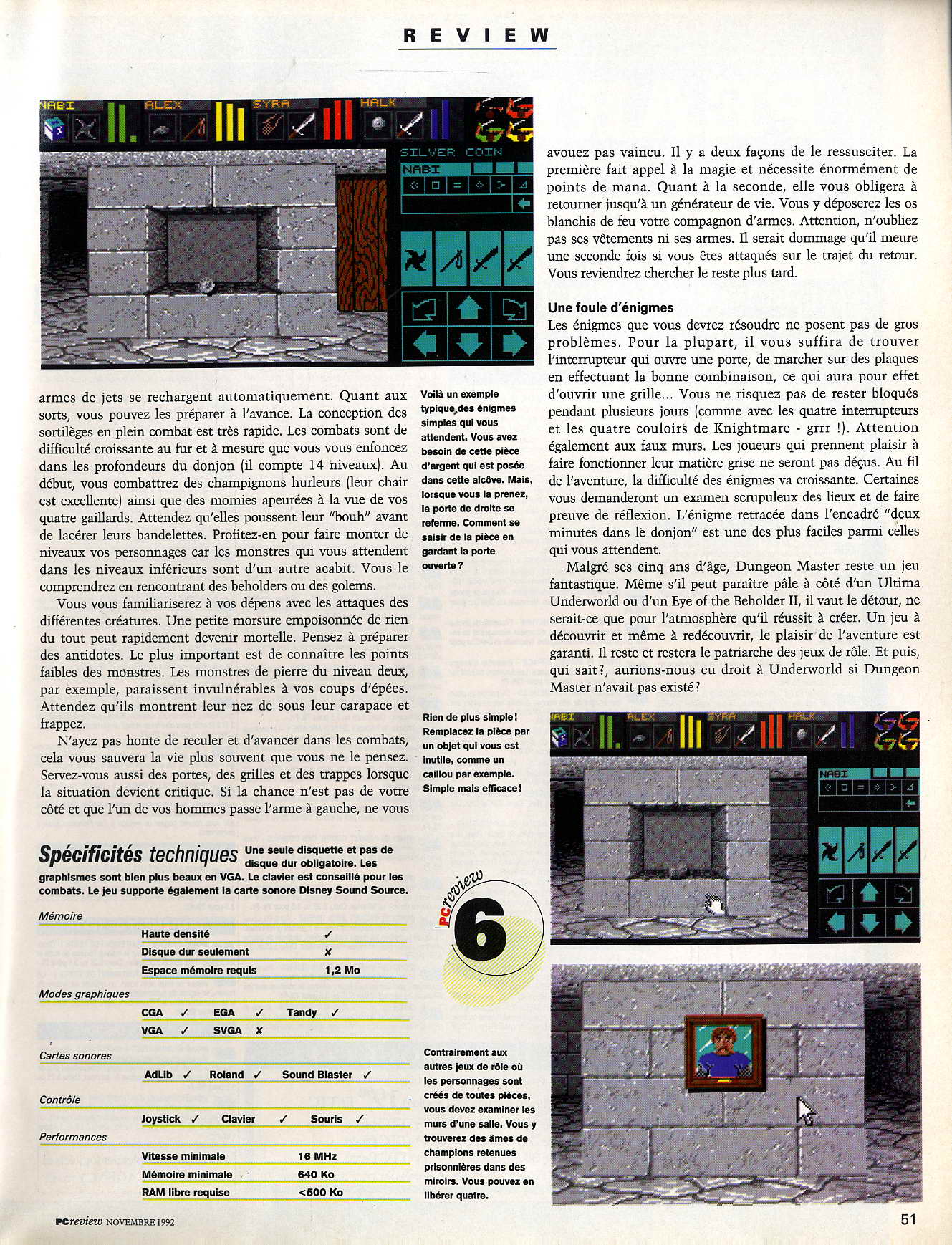 Dungeon Master for PC Review published in French magazine 'PC Review', Issue #2 November 1992, Page 51