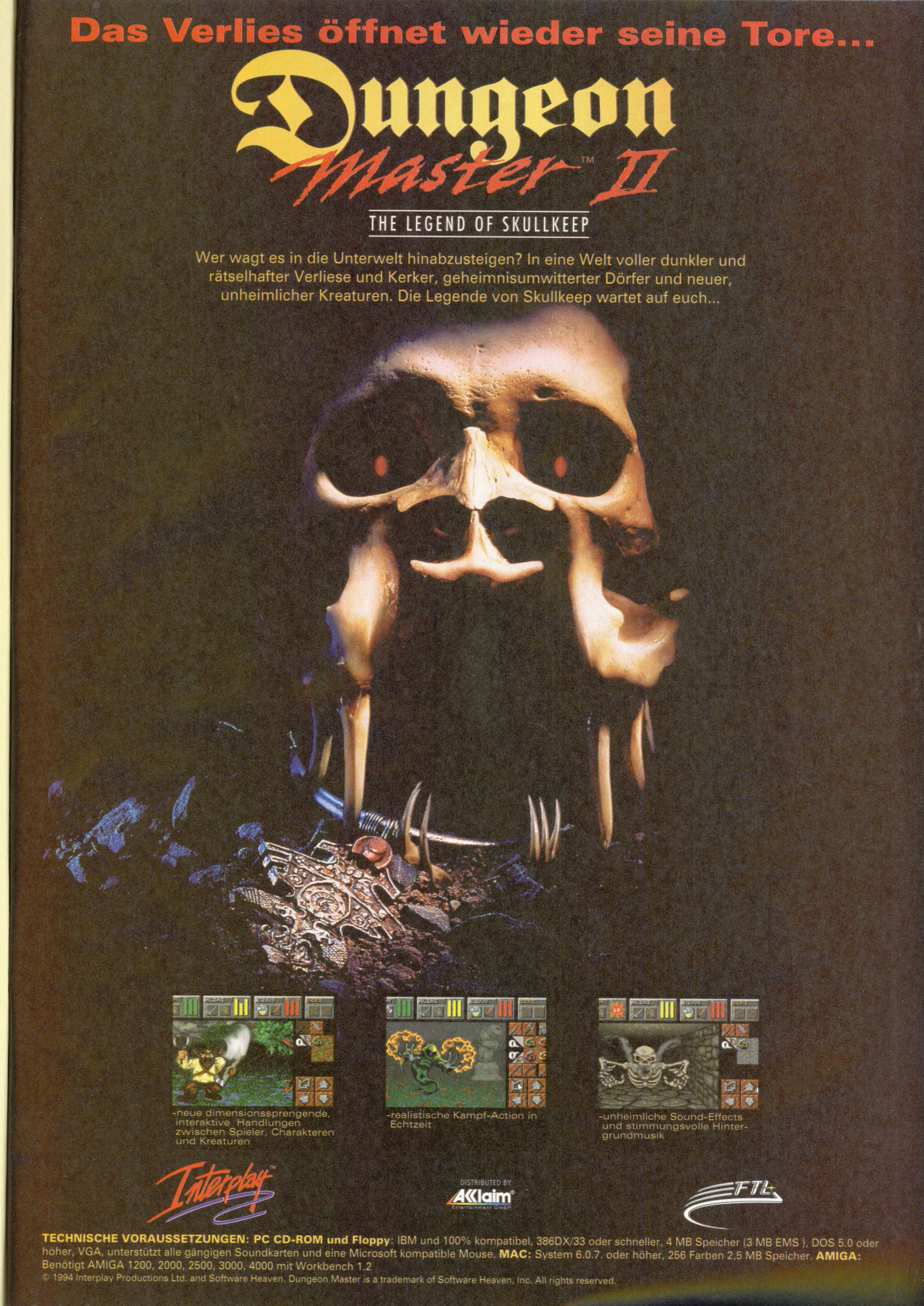 Dungeon Master II for PC Advertisement published in German magazine 'PC Spiel', September 1995, Page 11