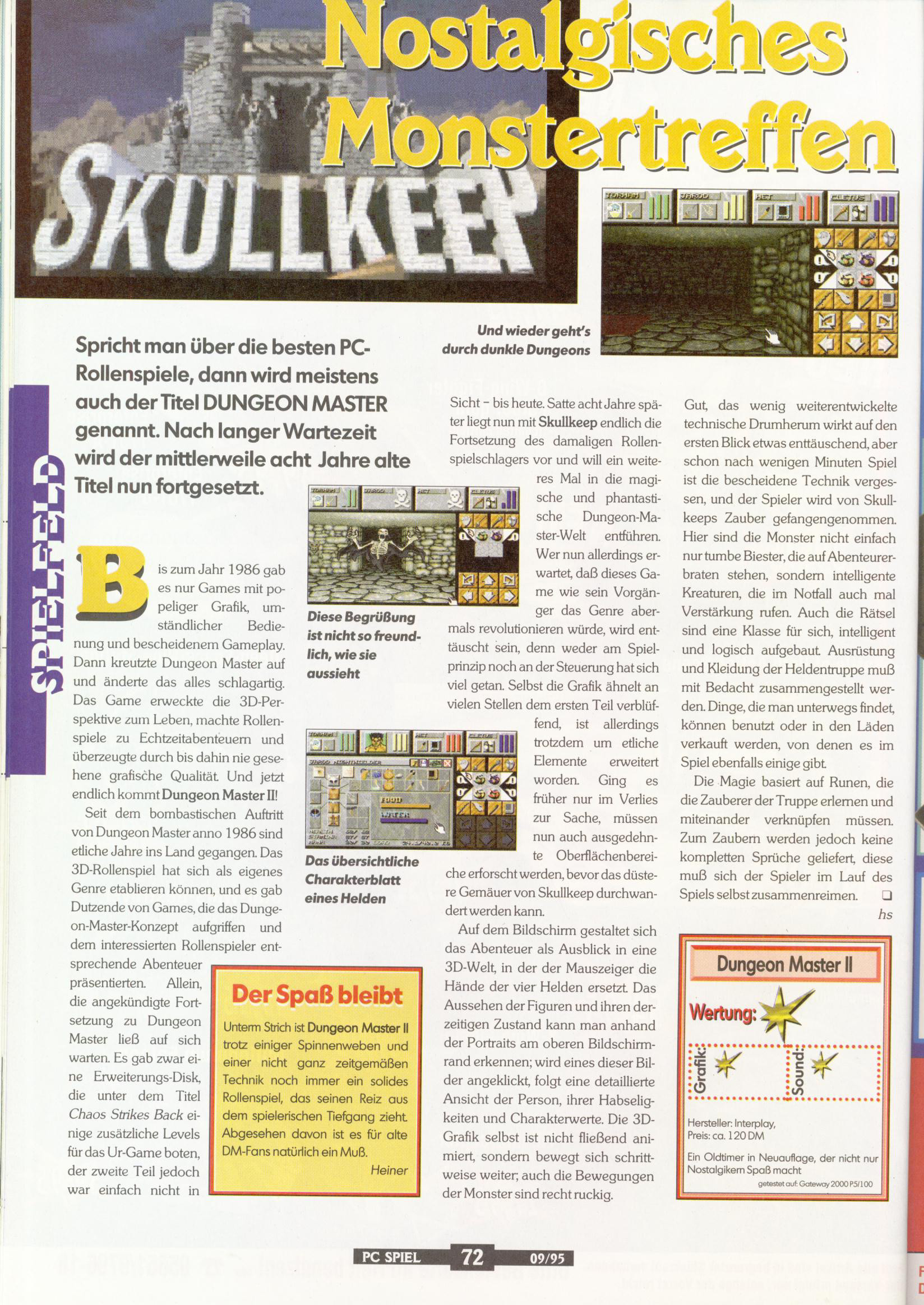 Dungeon Master II for PC Review published in German magazine 'PC Spiel', September 1995, Page 72