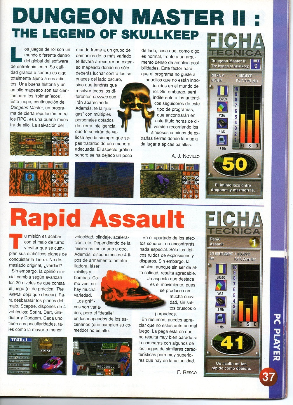 Dungeon Master II for PC Review published in Spain magazine 'PC Top Player', February 1996, Page 37
