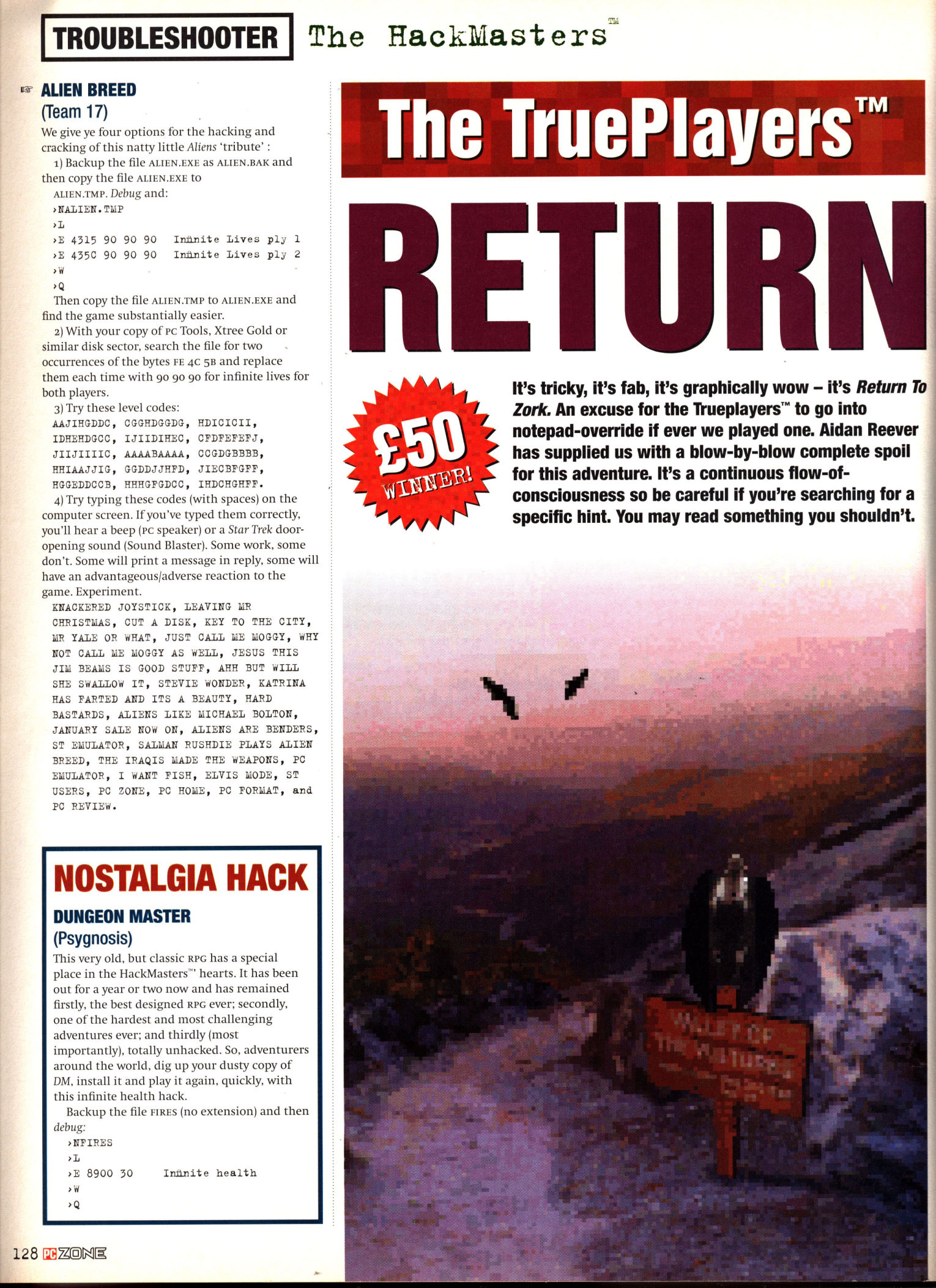 Dungeon Master for PC Cheat published in British magazine 'PC Zone', Issue #11 February 1995, Page 128